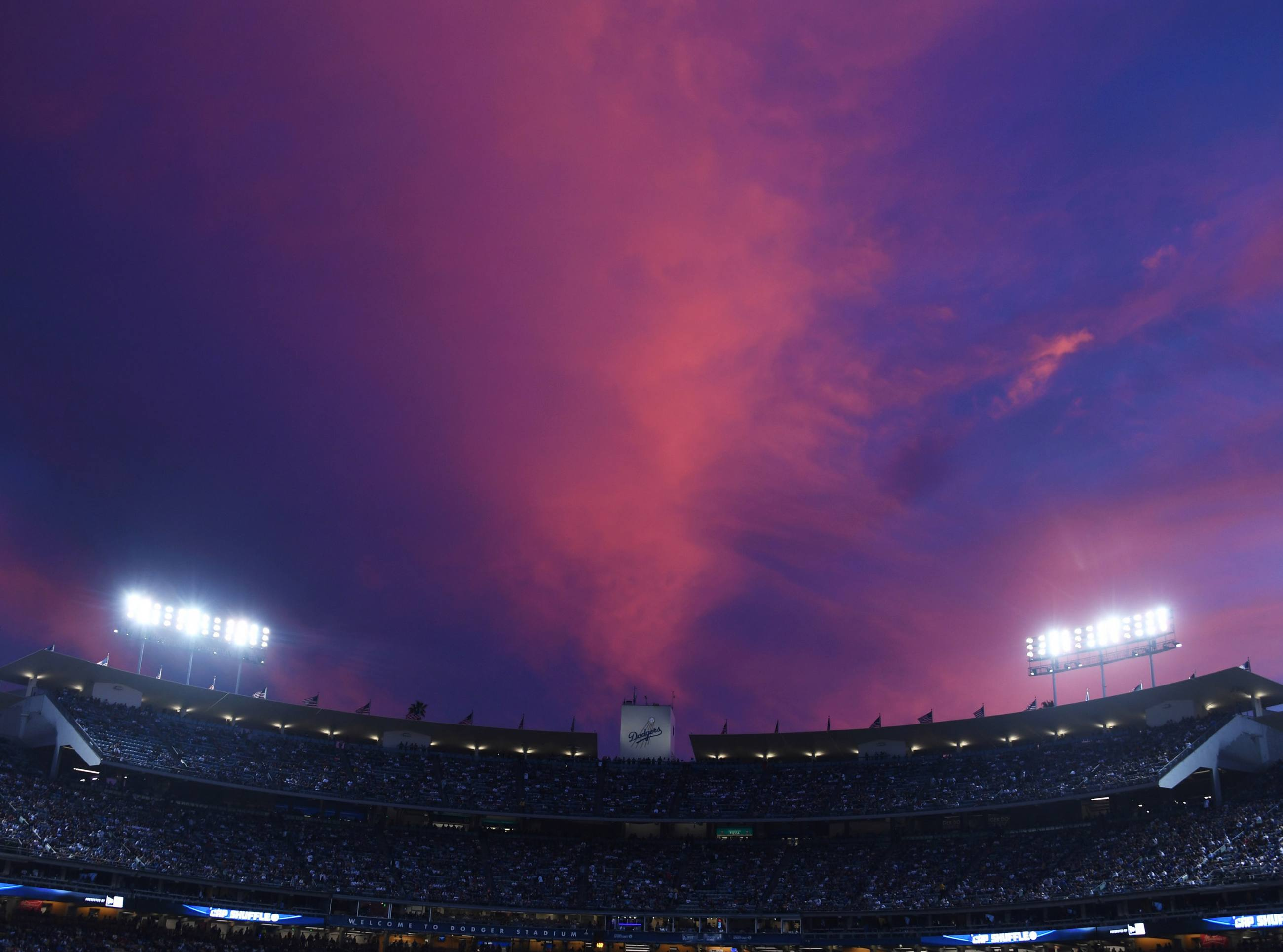 "Dodger Stadium sunset ""cotton candy sky"""