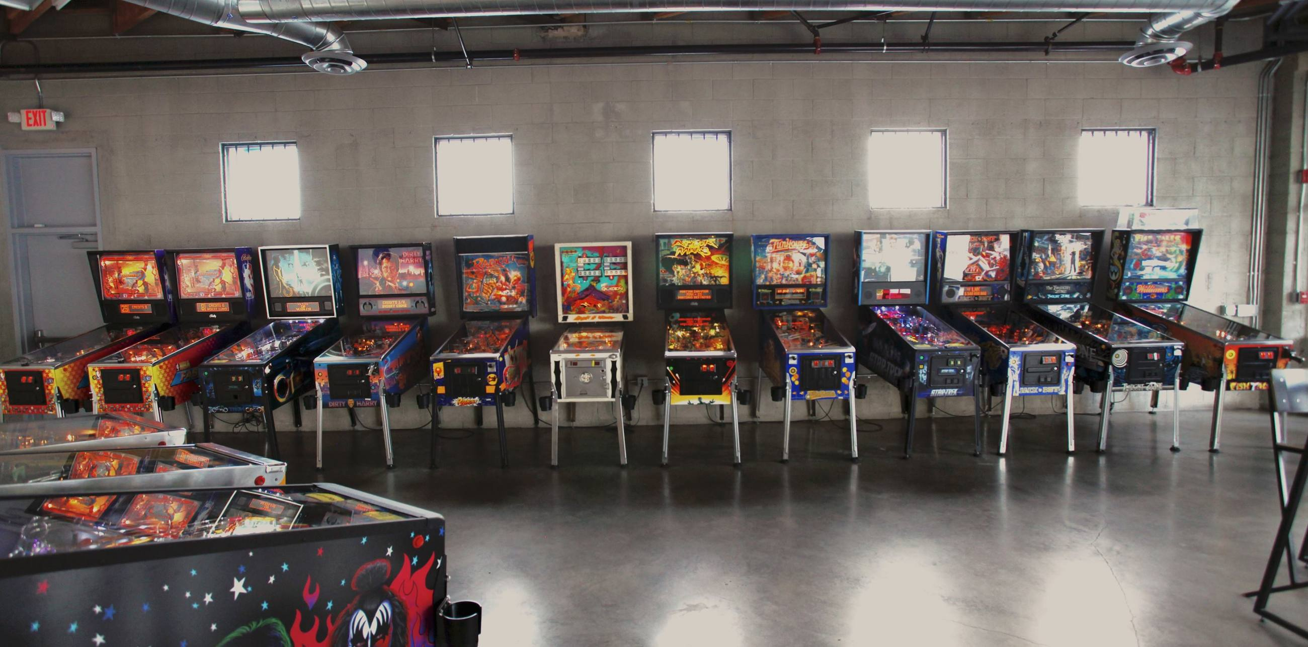 Pinball machines at EightyTwo in the DTLA Arts District