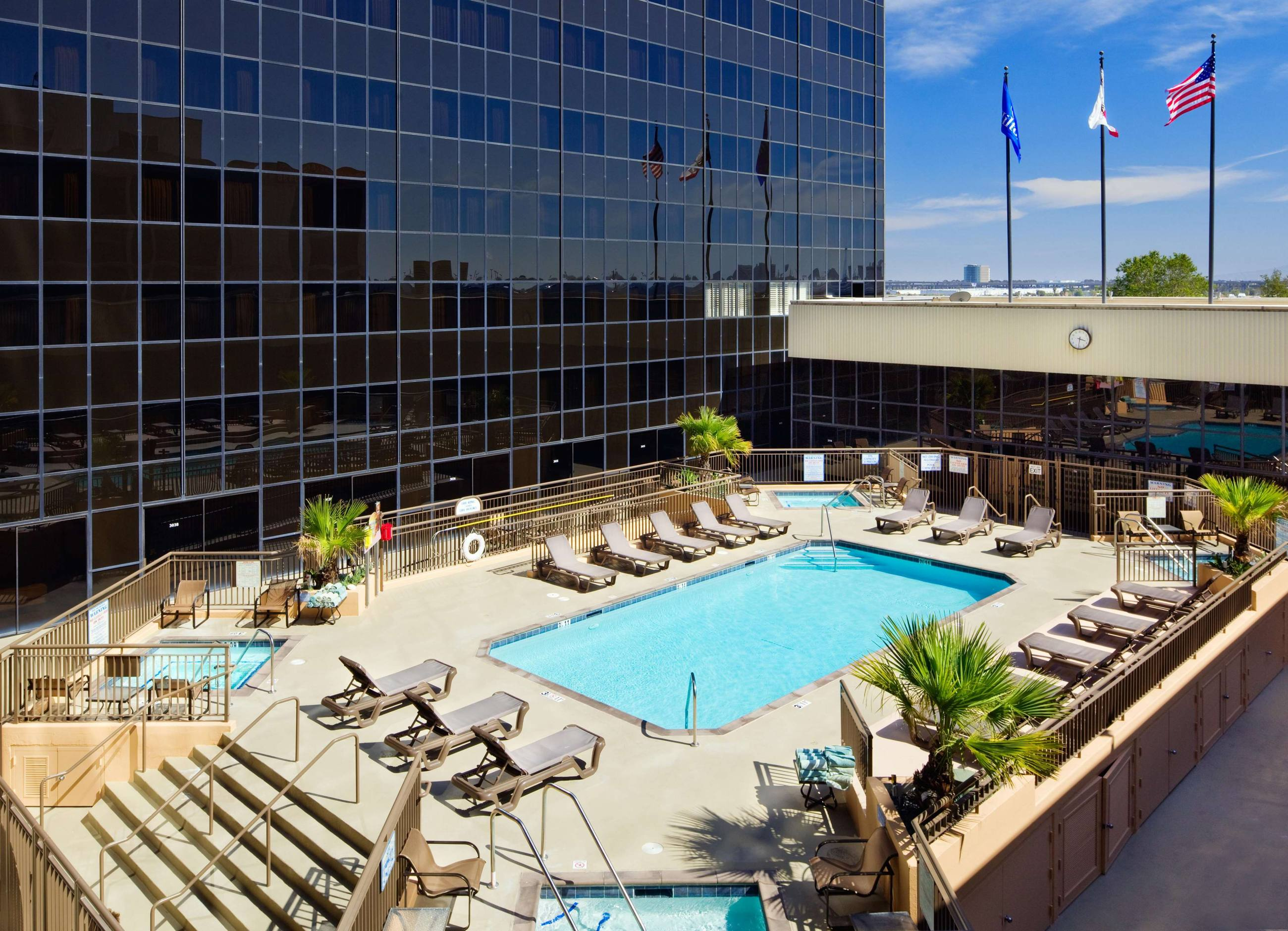Third floor pool at the Hilton Los Angeles Airport