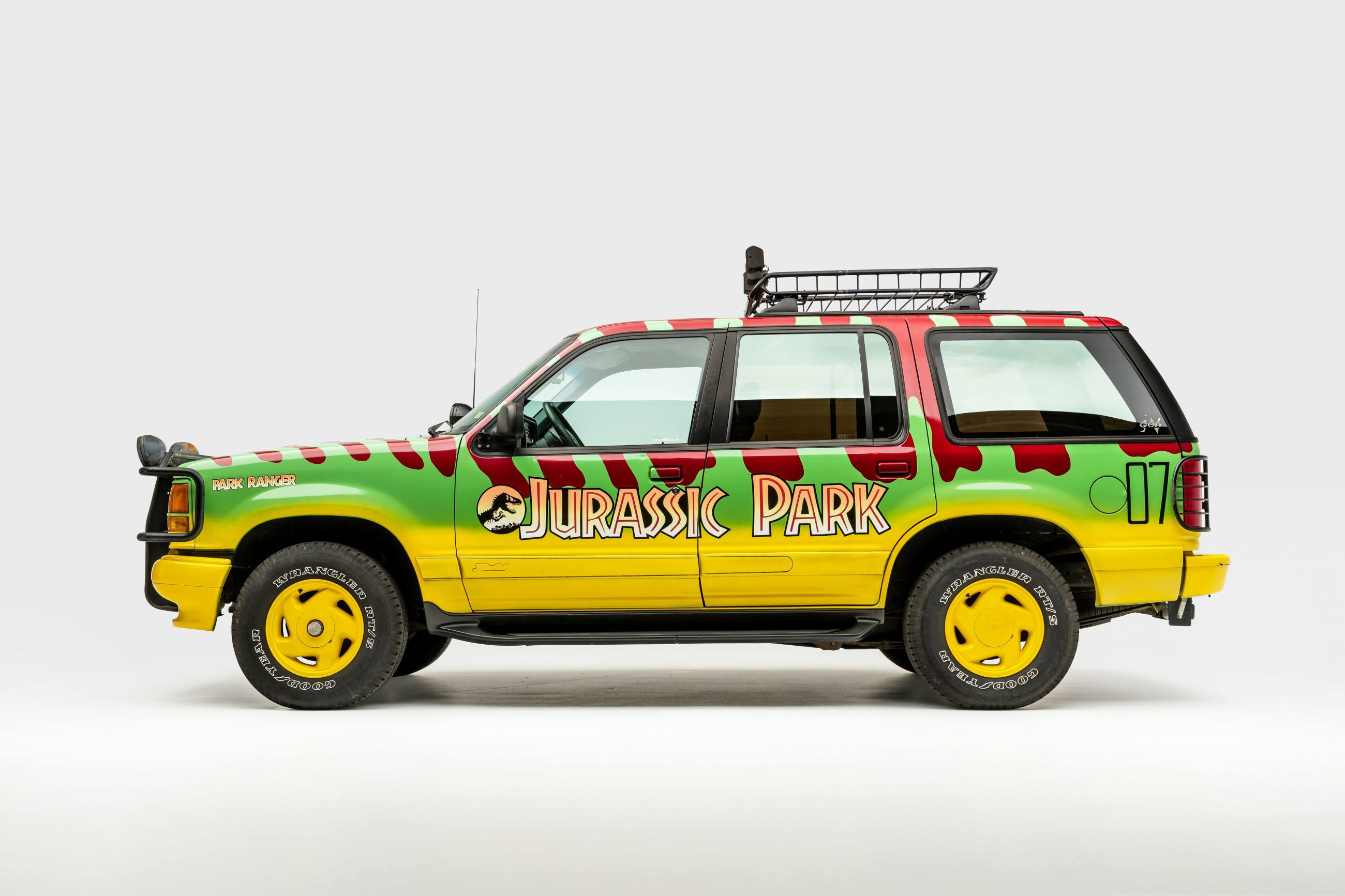 Replica of Ford Explorer XLT Tour Vehicle #07 from Jurassic Park (1993)   Photo: Petersen Automotive Museum