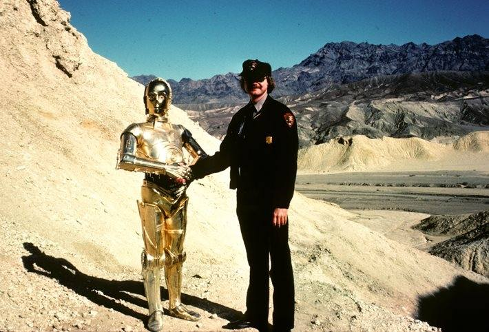 C-3PO meets a National Park Service Ranger   Photo: Death Valley National Park, Facebook
