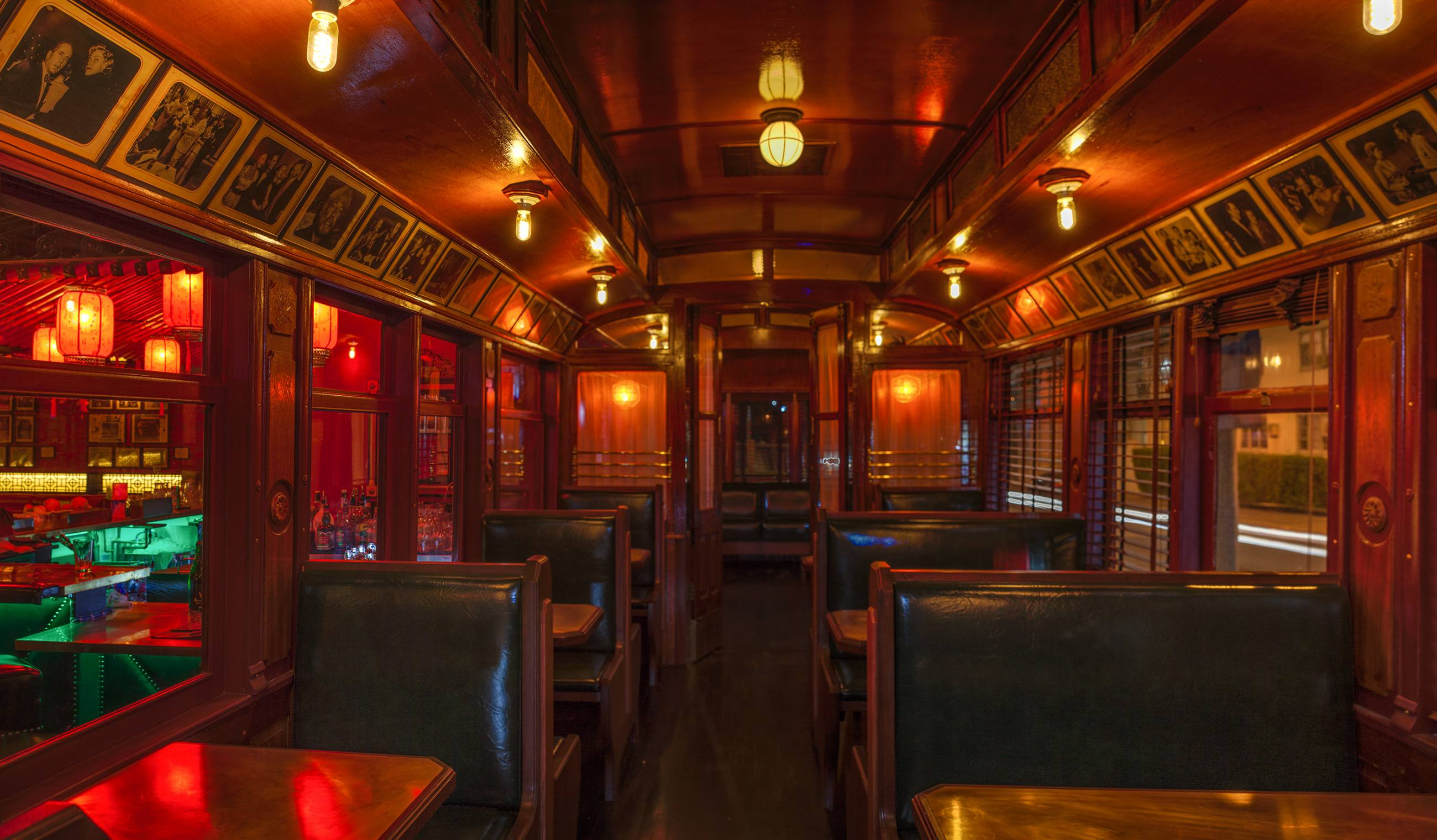 Interior of the Pacific Electric Red Car trolley at the Formosa Cafe