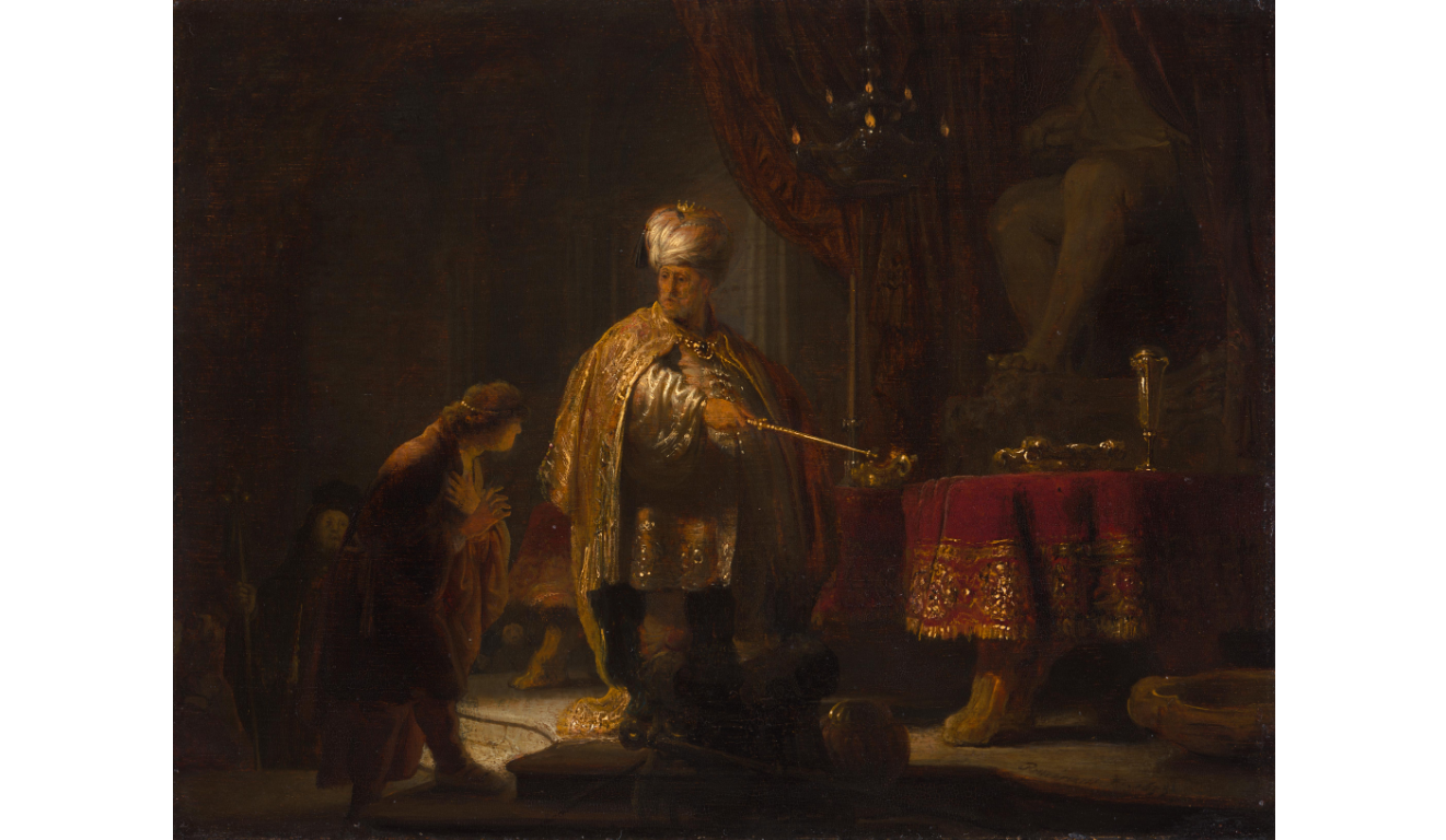 "Rembrandt ""Daniel and Cyrus before the Idol Bel"" at the Getty Center"