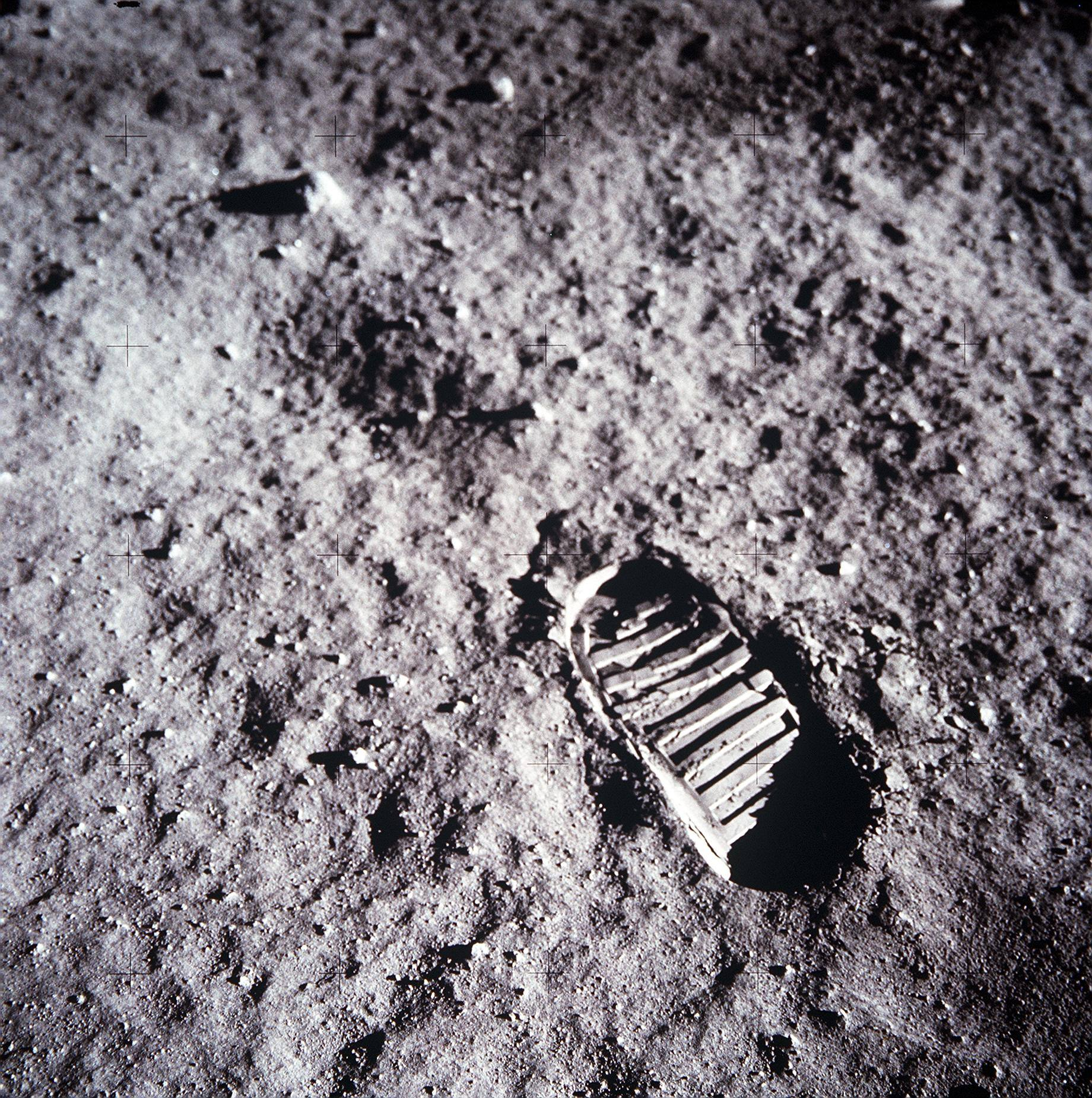 Apollo 11 astronaut Buzz Aldrin's bootprint in the lunar soil