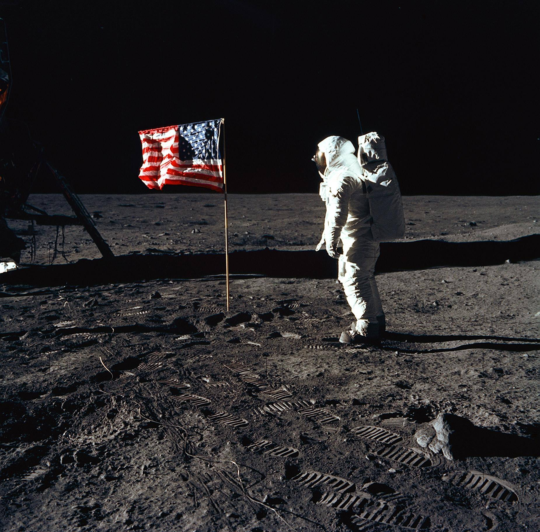 Apollo 11 Buzz Aldrin salutes the US flag on the Moon