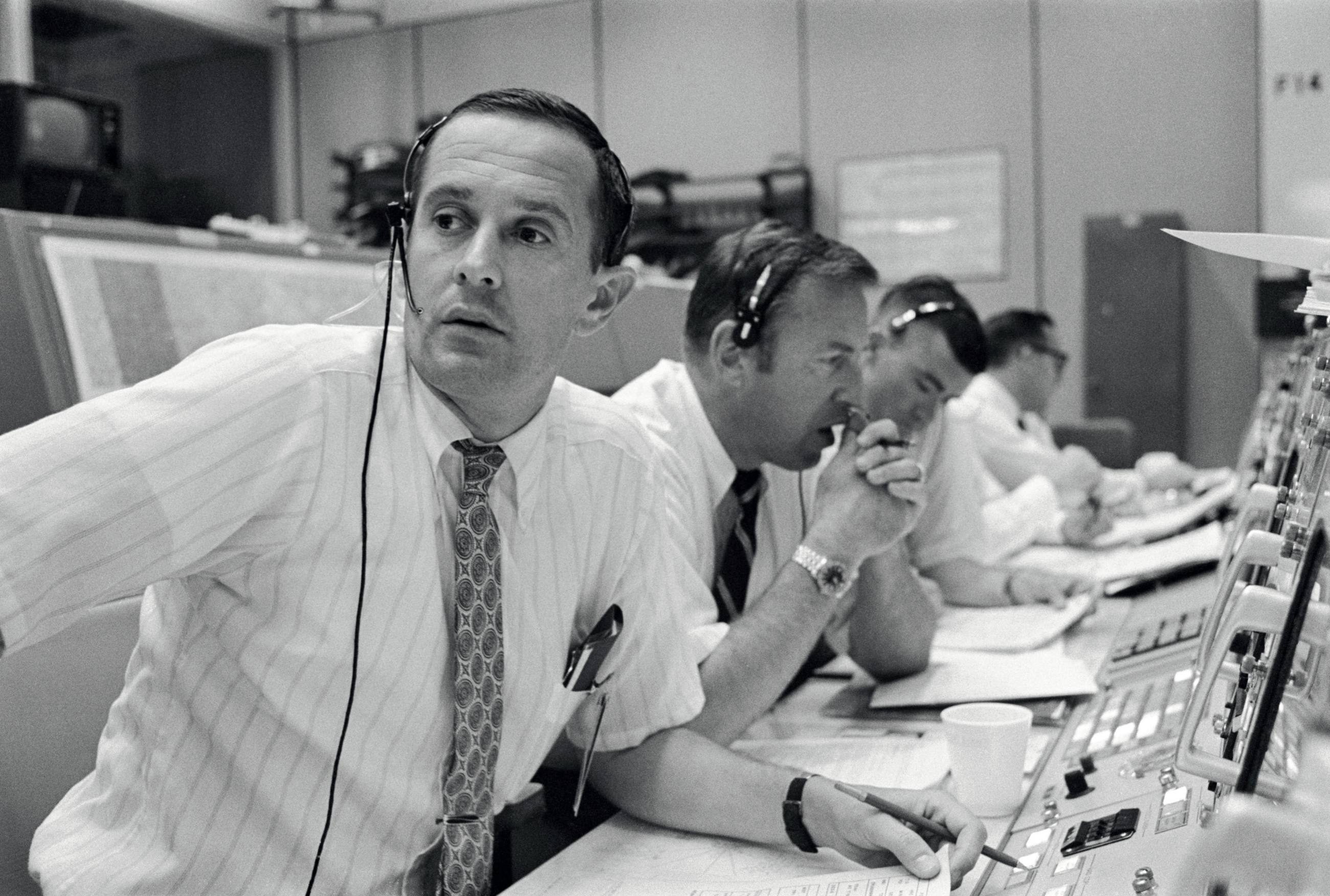 Apollo 11 spacecraft communicators at Mission Control on July 20, 1969