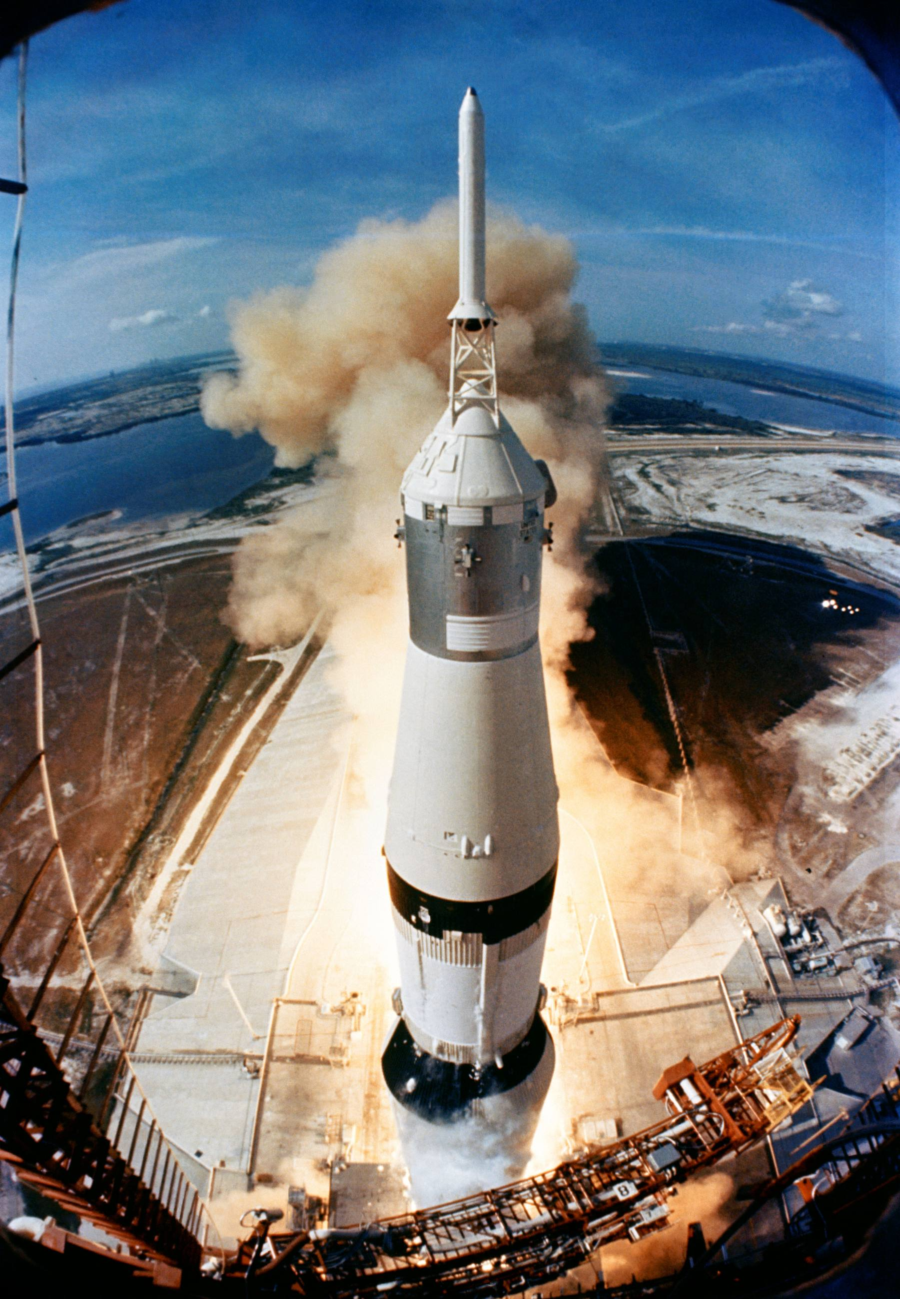 Saturn V rocket launches on the Apollo 11 mission on July 16, 1969