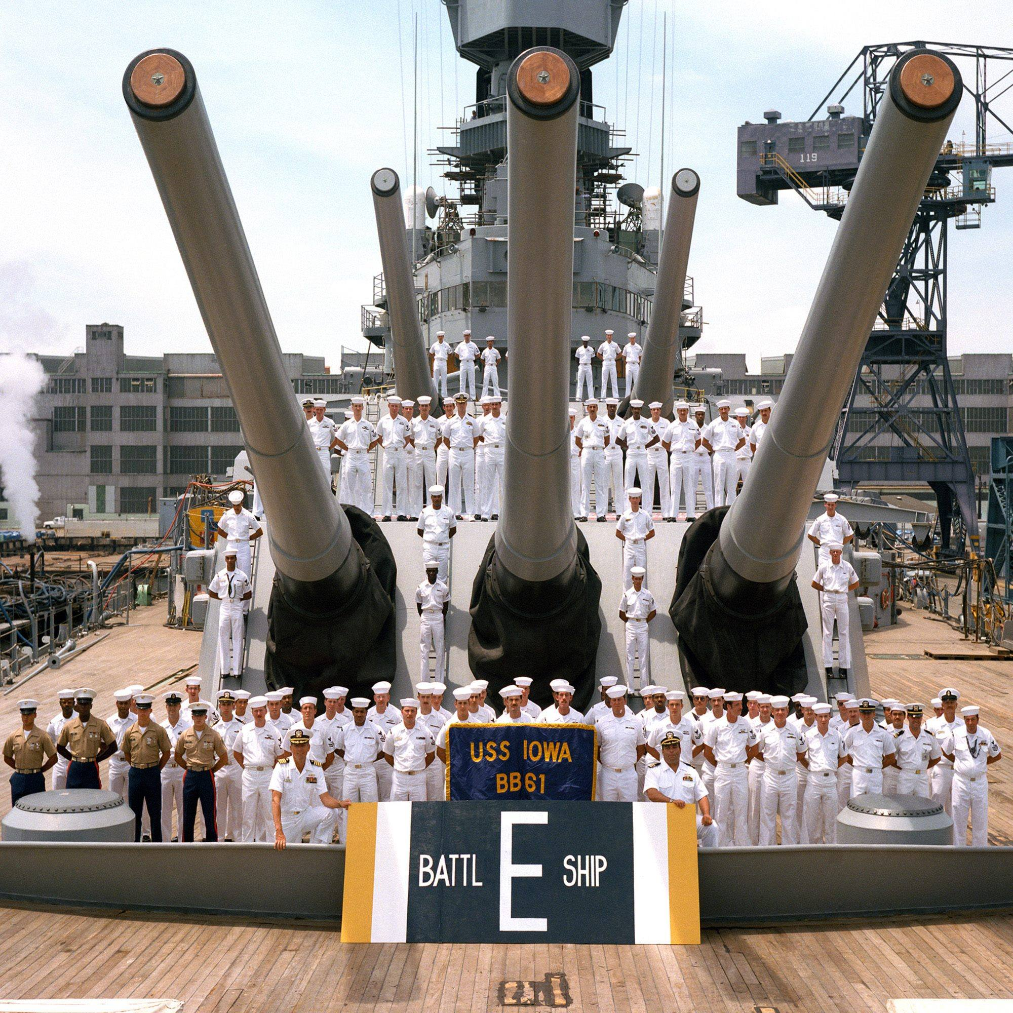 "Battle efficiency ""E"" Award won by Battleship IOWA"