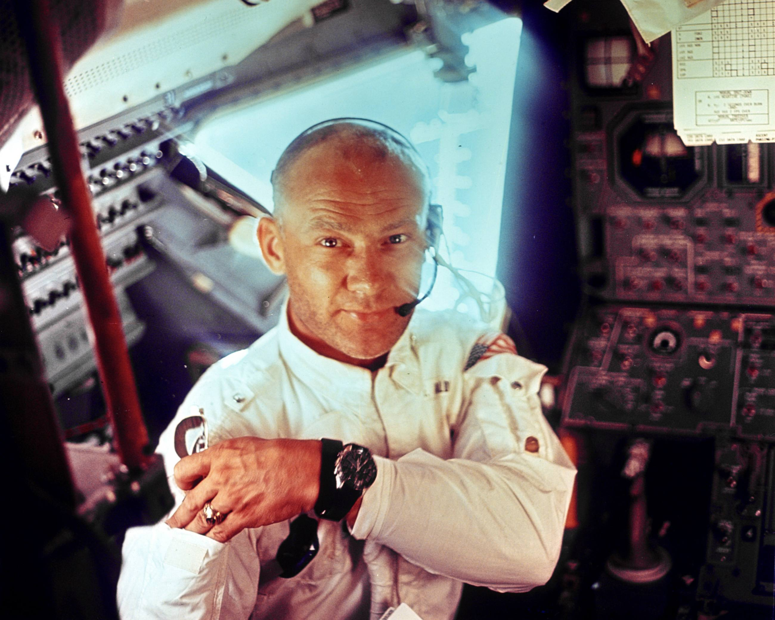 Buzz Aldrin in the Apollo 11 Lunar Module on July 20, 1969