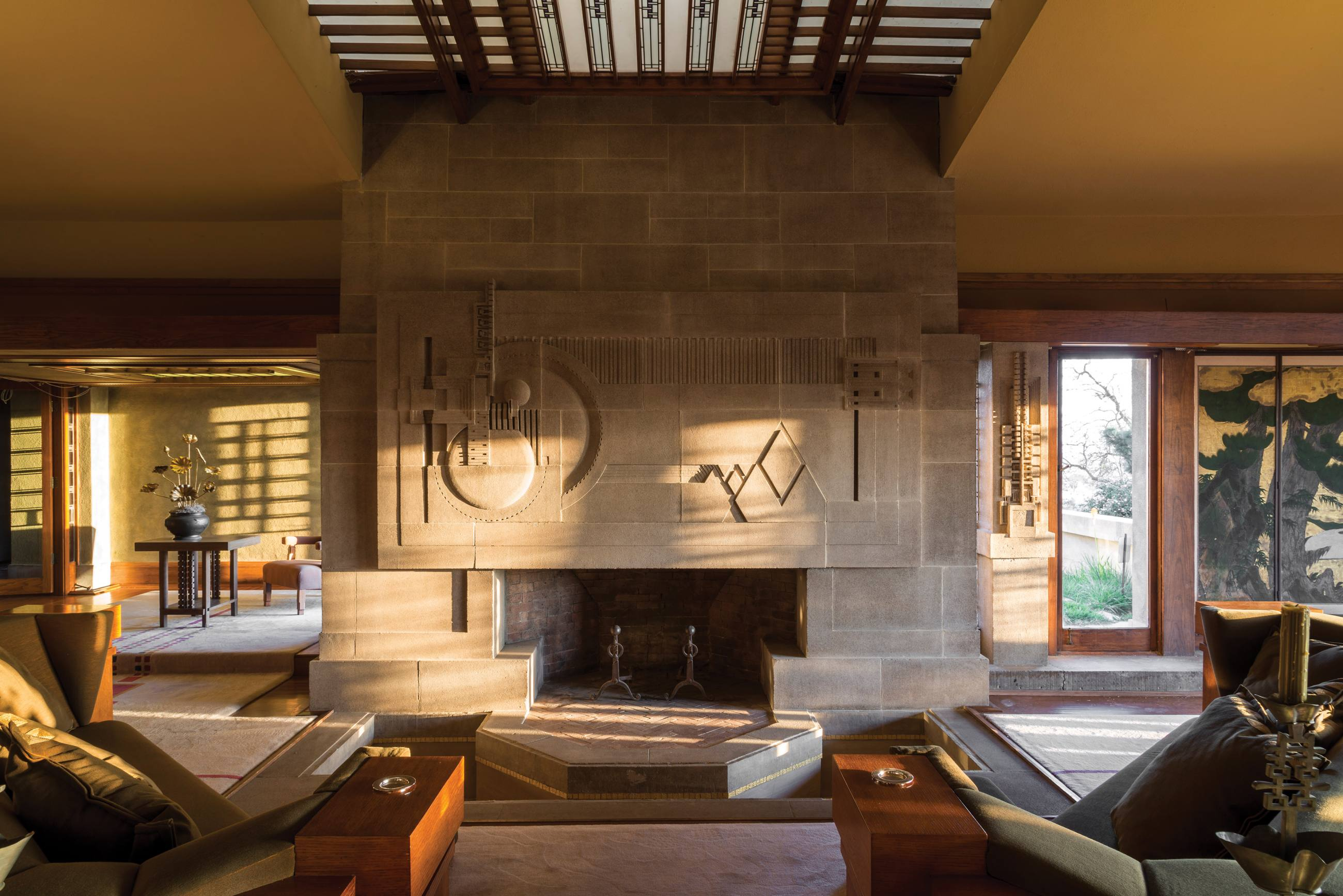 Hollyhock House living room and fireplace