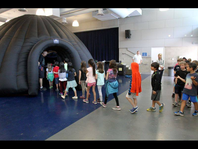 Students enter the Jet Propulsion Laboratory GeoDome