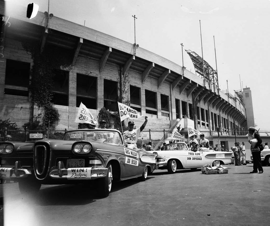 The Dodgers arrive at the LA Coliseum on Opening Day in 1958