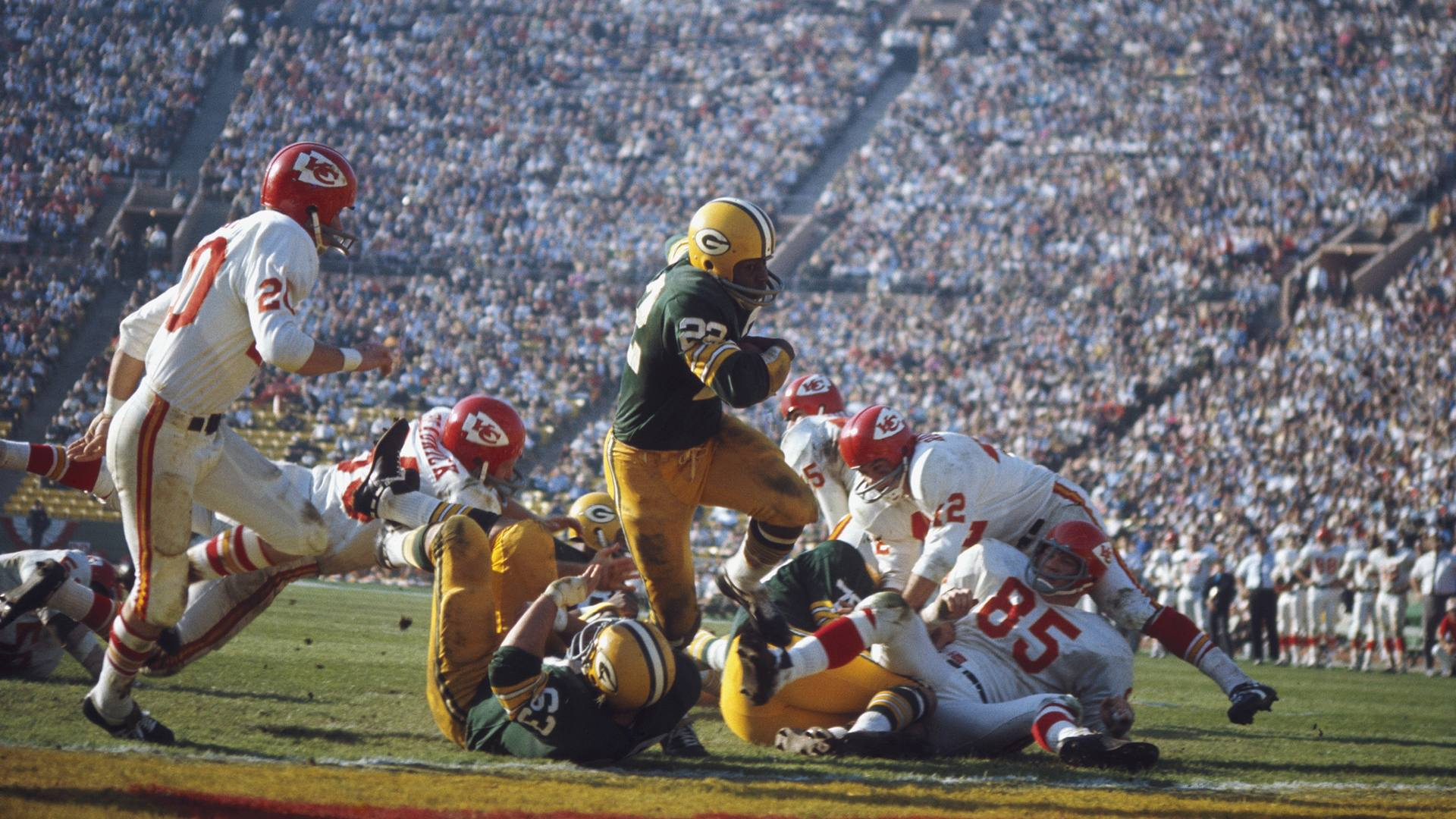 The first Super Bowl at the LA Coliseum on Jan. 15, 1967