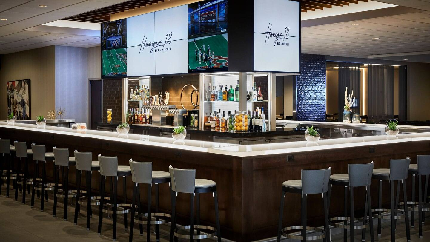 Hangar 18 Bar + Kitchen at Los Angeles Airport Marriott