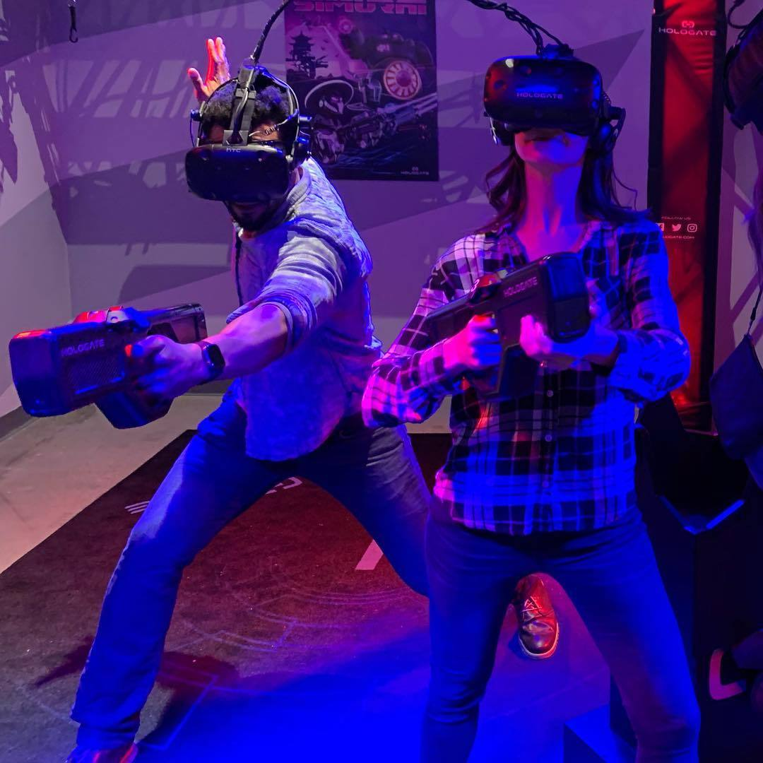 Battling VR zombies in the Hologate at Two Bit Circus