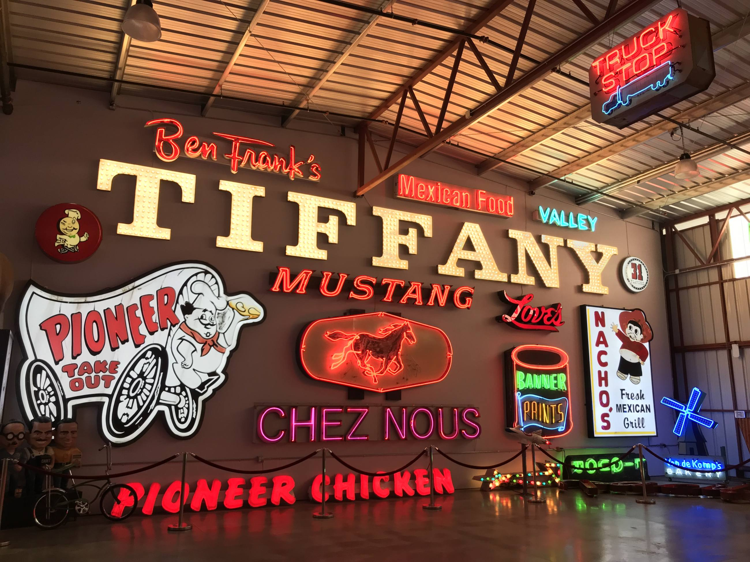 Wall of neon signs at the Valley Relics Museum