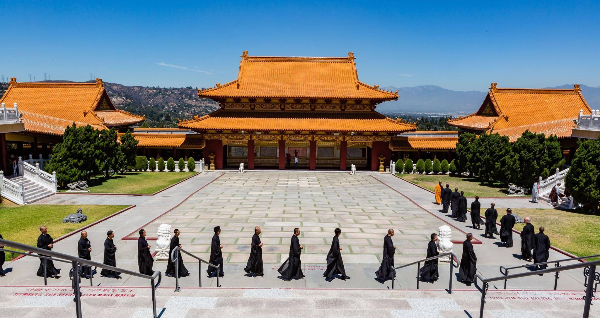 Walking meditation at Hsi Lai Temple