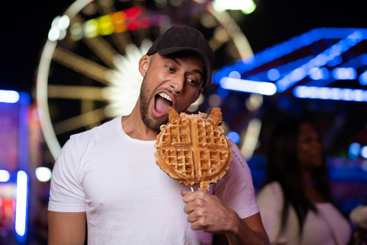 Fried chicken & waffle on a stick at the LA County Fair