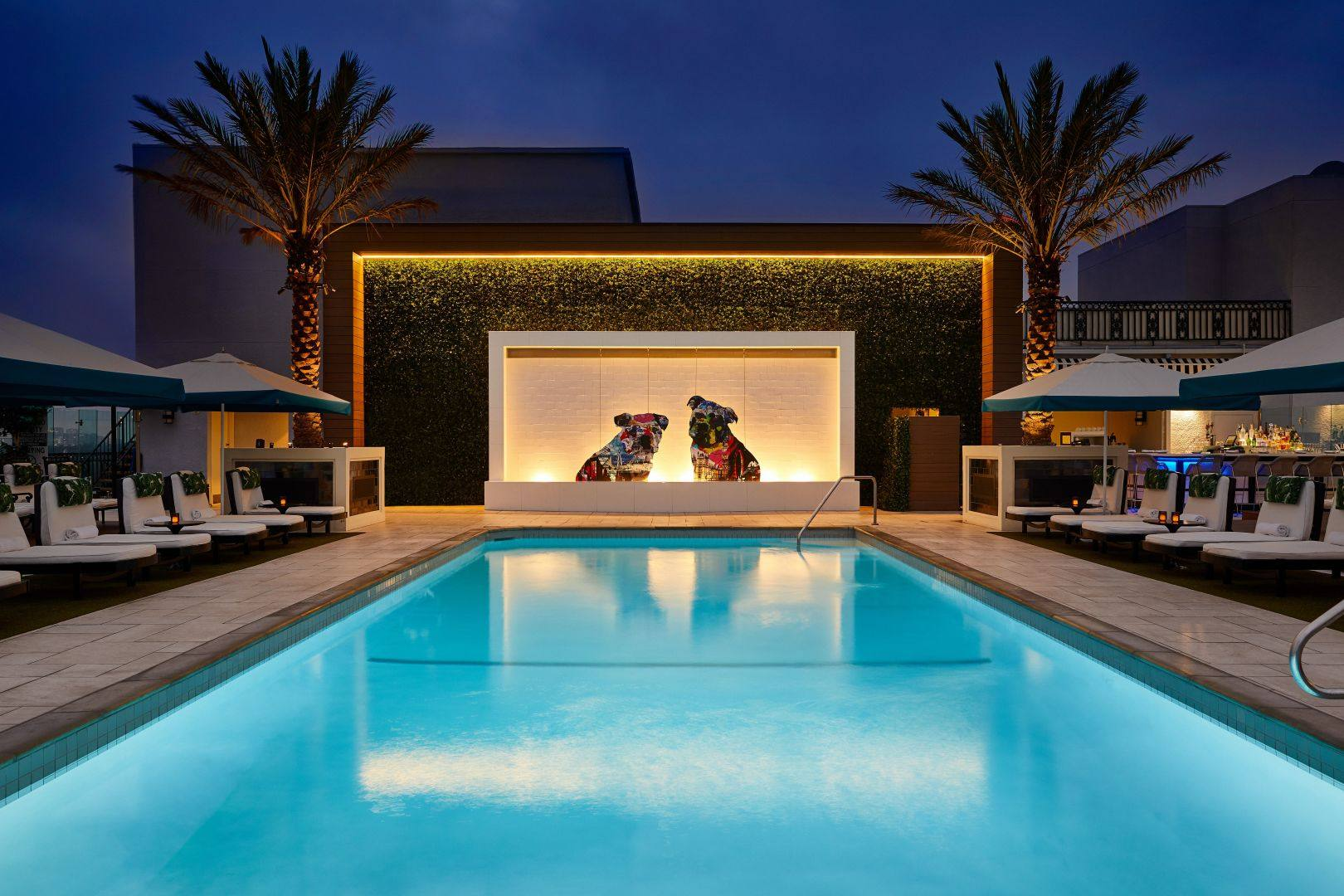 The London West Hollywood rooftop pool at night