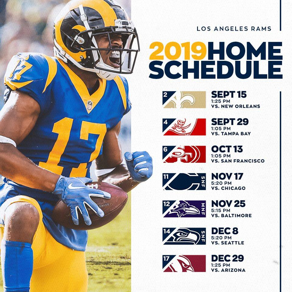 Los Angeles Rams 2019 Home Schedule
