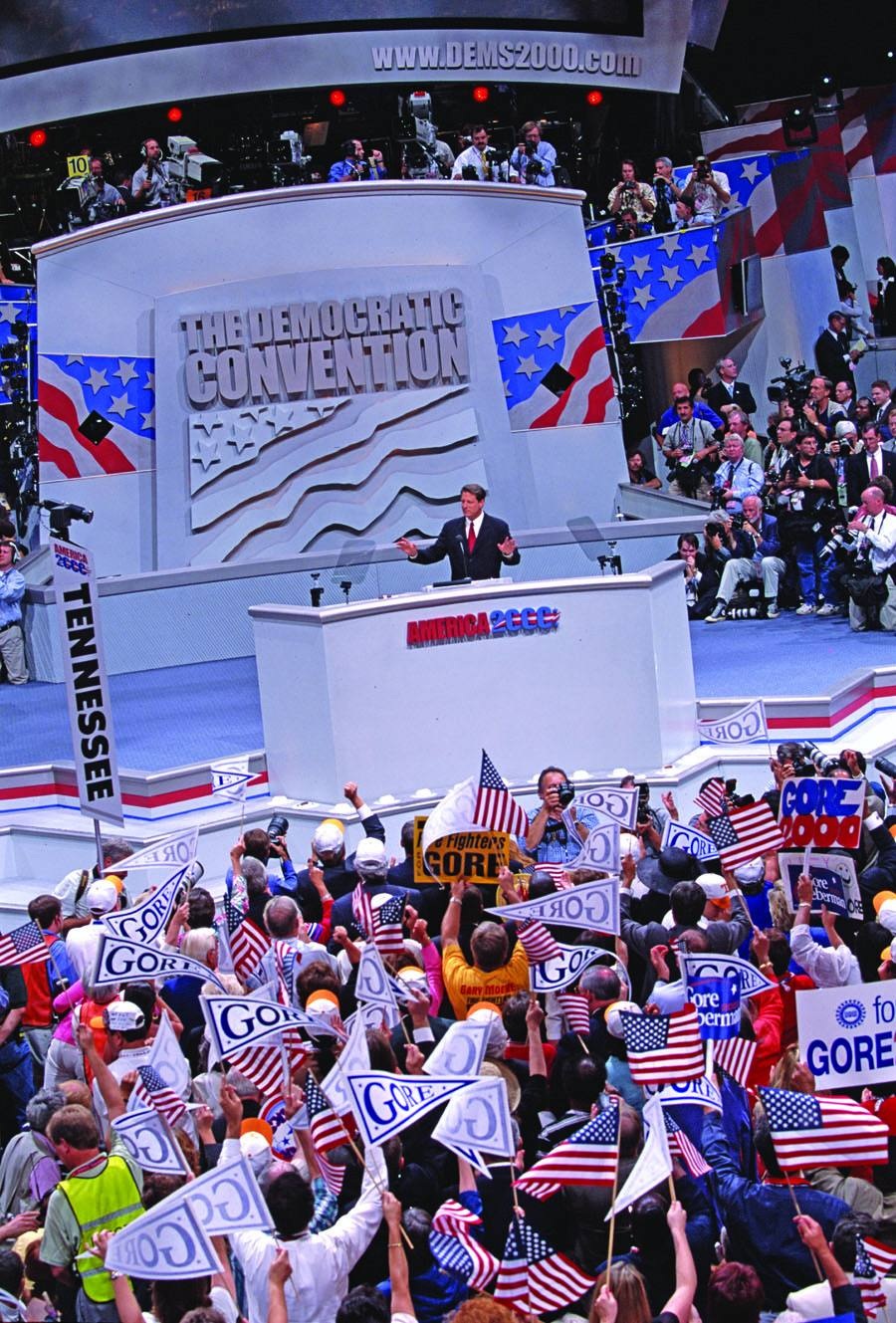 Al Gore speaking at the 2000 Democratic National Convention at STAPLES Center