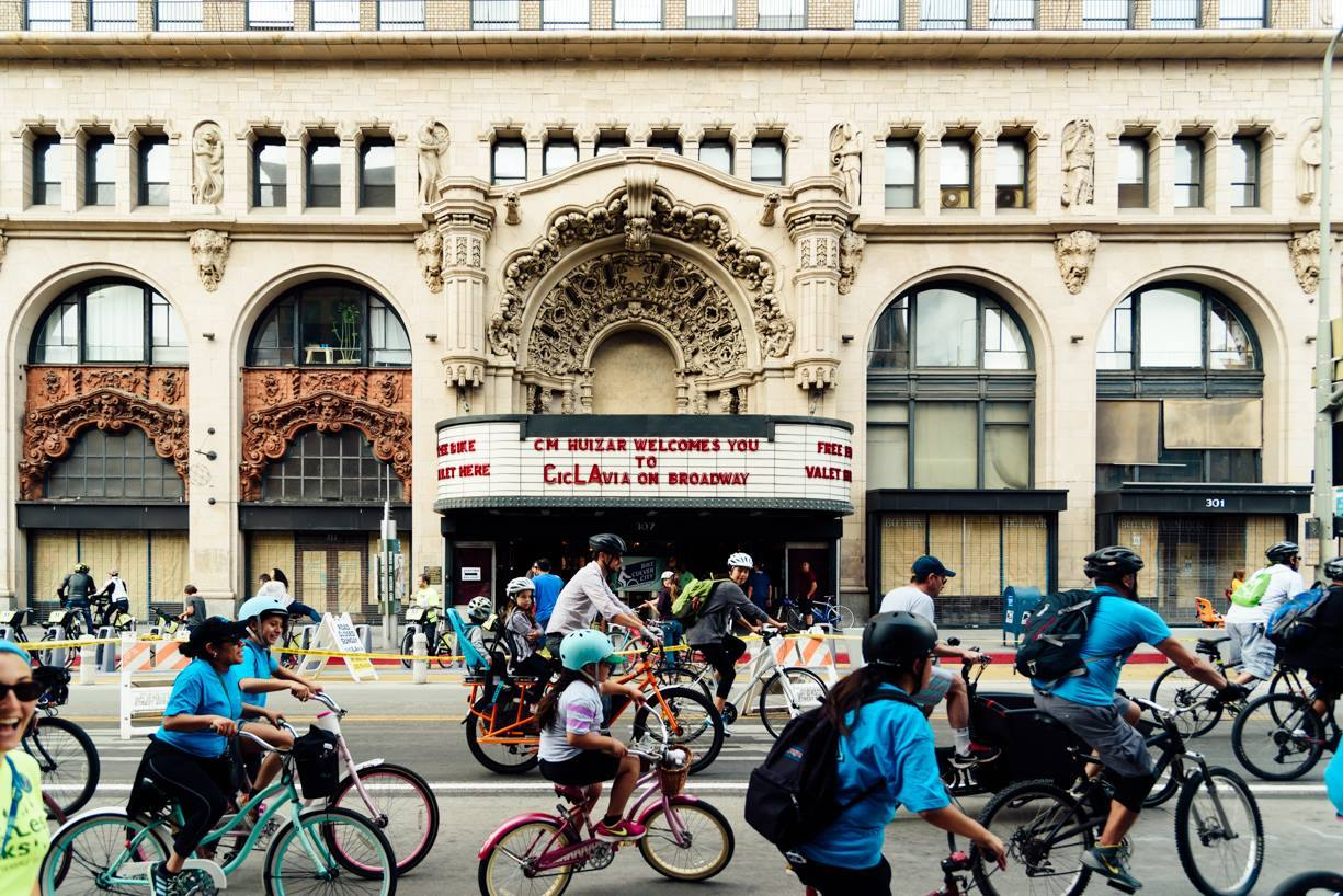 CicLAvia: Heart of LA bicyclists at the Million Dollar Theatre on Broadway