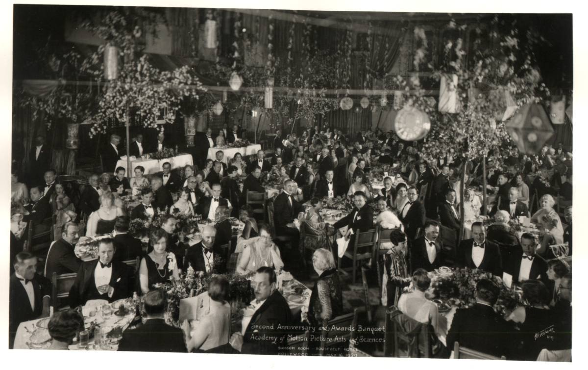 The first Academy Awards ceremony at the Hollywood Roosevelt Hotel in 1929