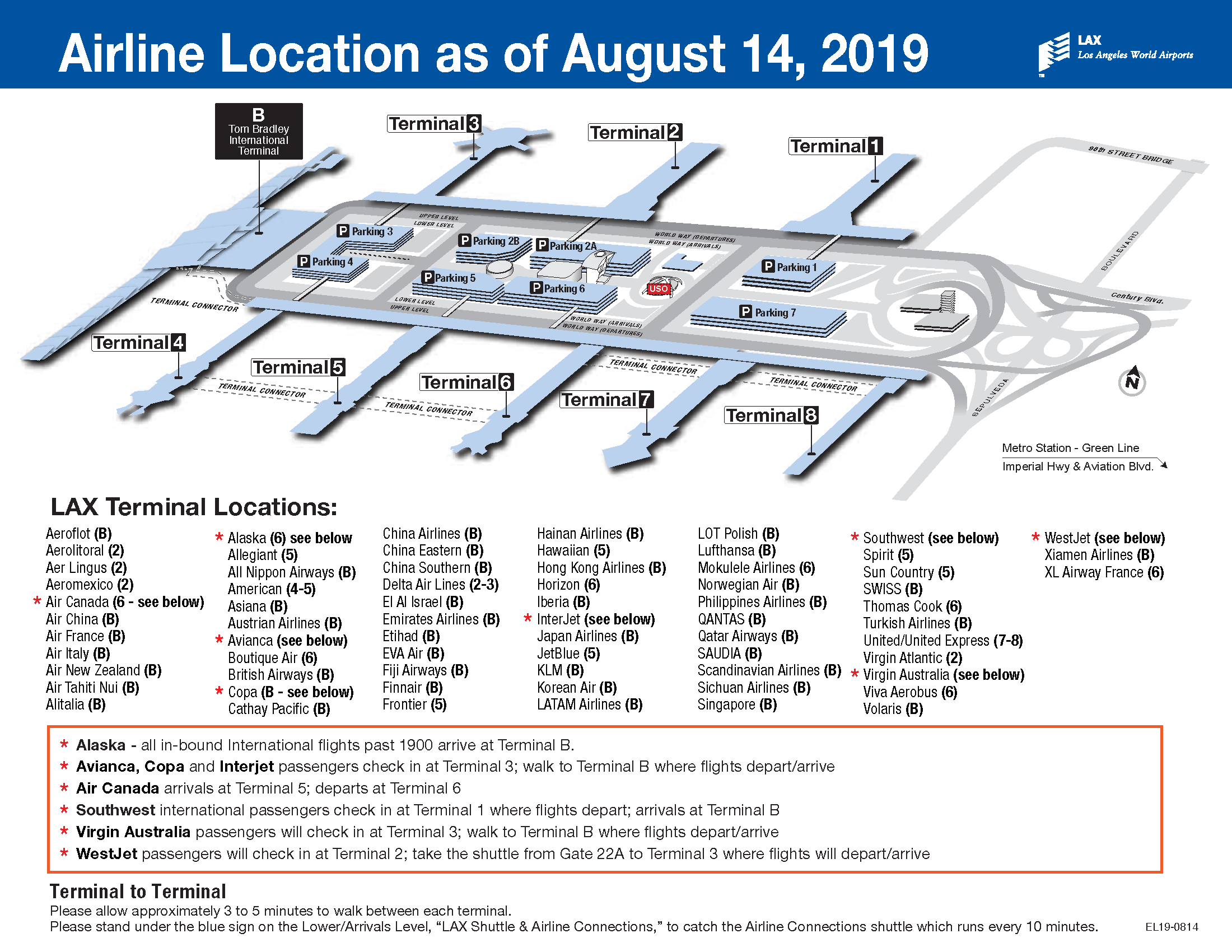 LAX Airline Location Map August 2019