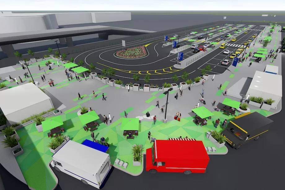 LAX-it pickup area with food trucks | Rendering: Los Angeles World Airports (LAWA)