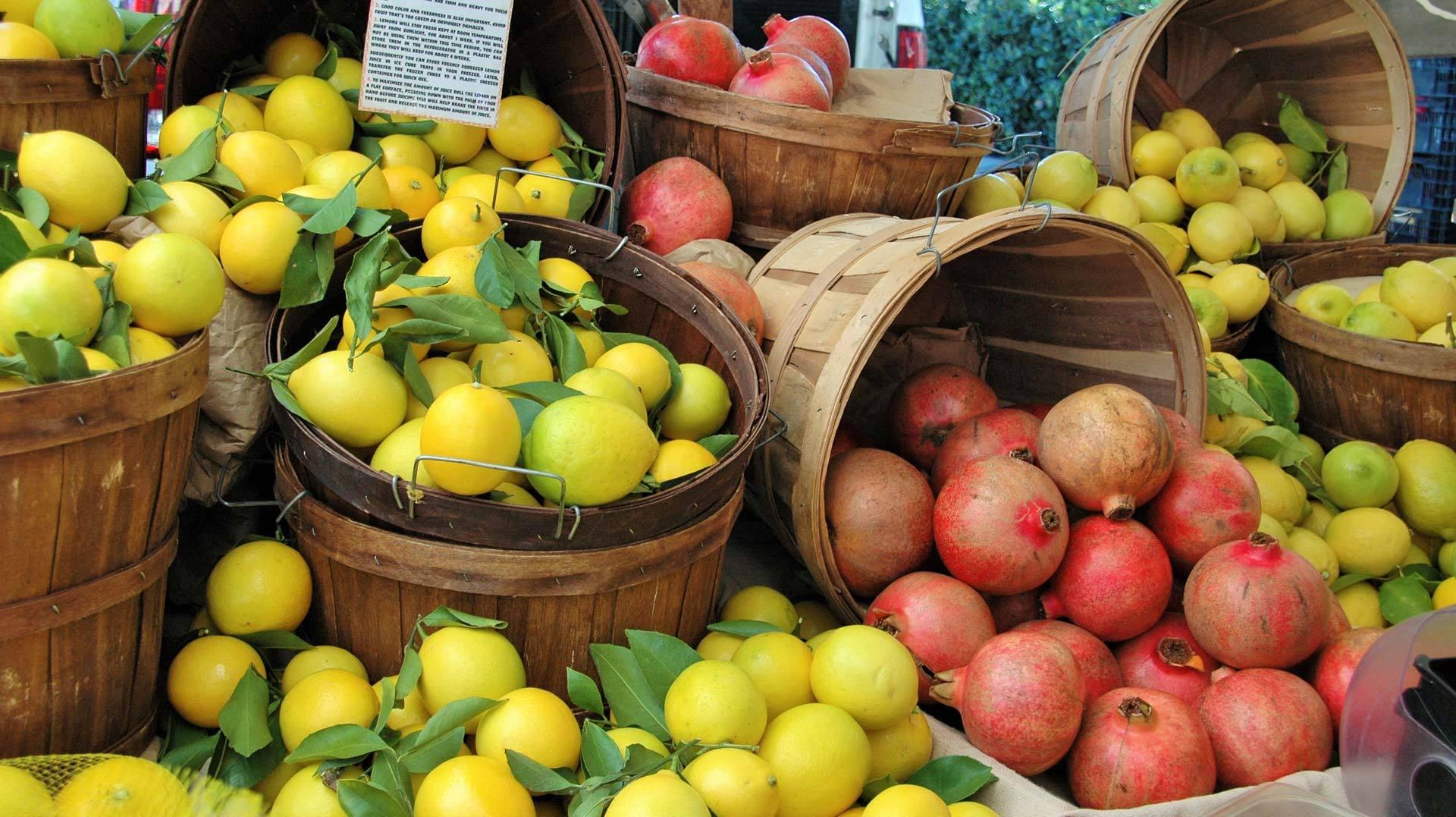 Lemons and pomegranates from Studio City Farmers Market