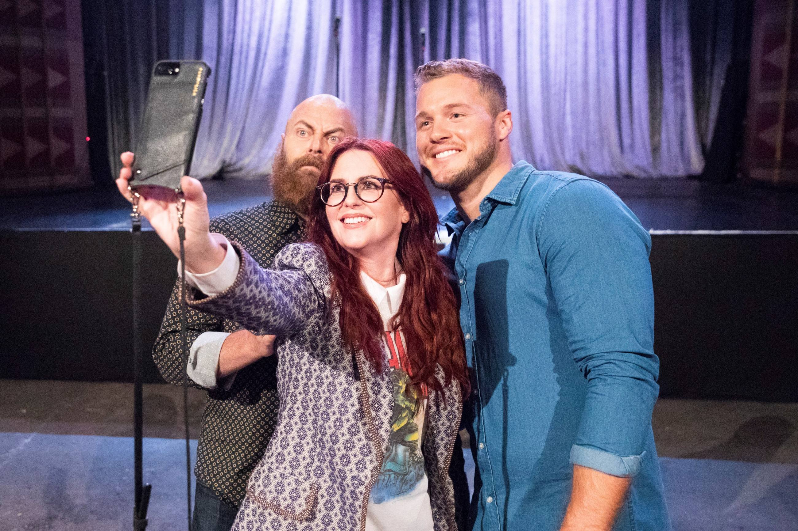 """Nick Offerman, Megan Mullally, and Colton Underwood at The Regent from """"The Bachelor"""" Season 23"""