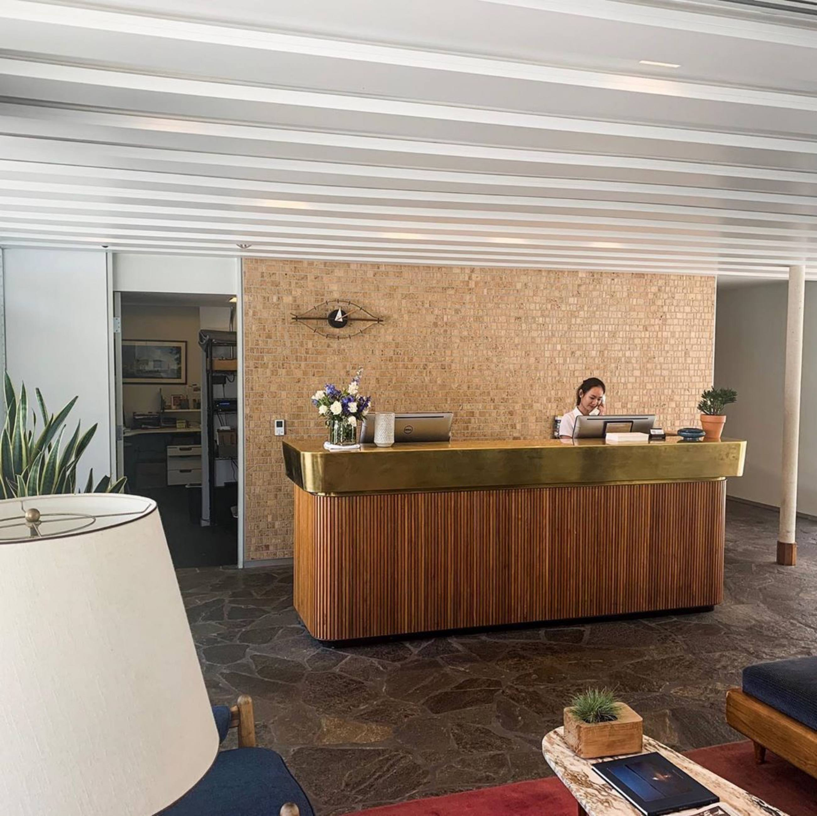 Lobby of the Beverly Laurel Motor Hotel