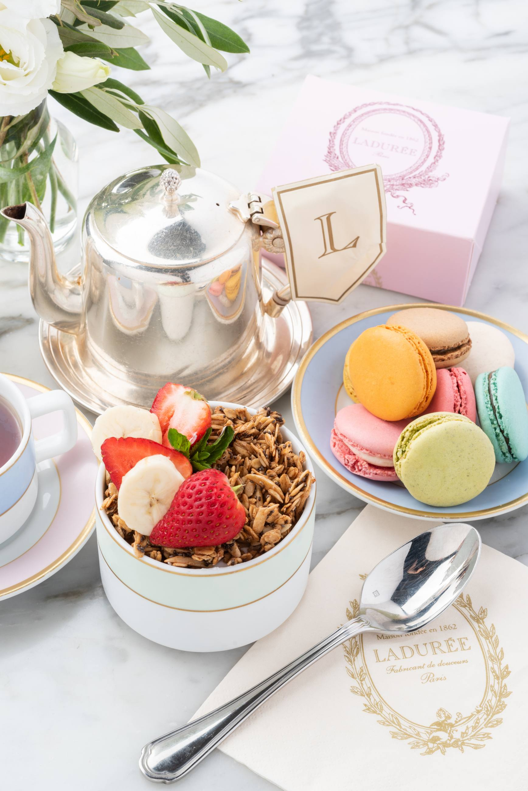 Tea and macarons at Ladurée Beverly Hills