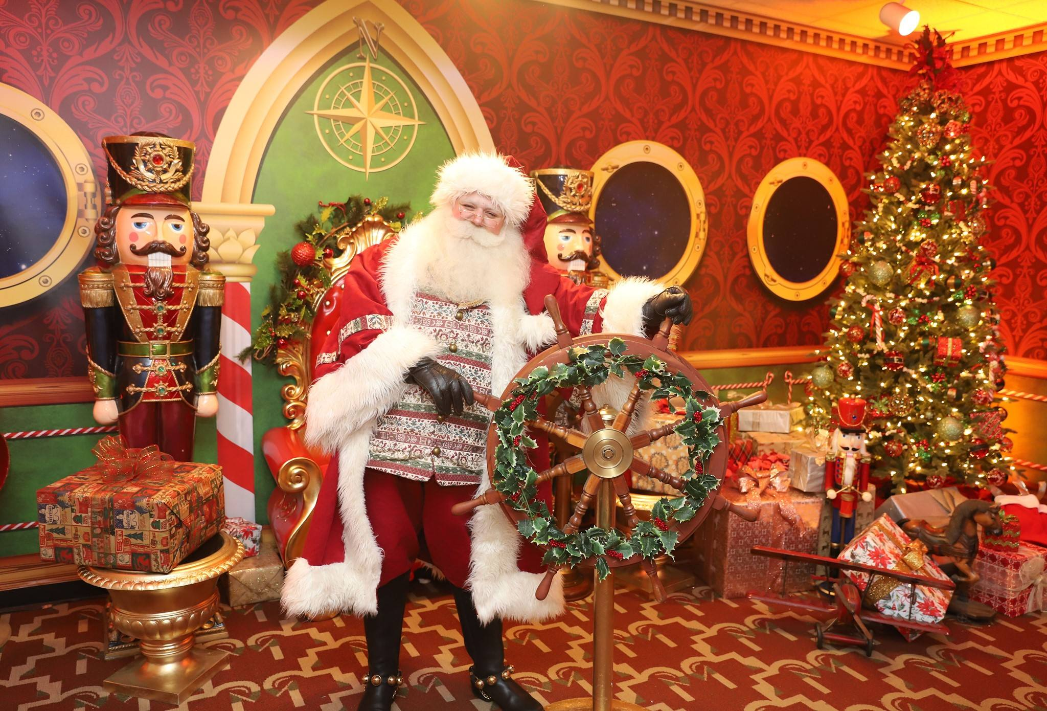 Santa Claus in the Captain's Quarters at Queen Mary Christmas