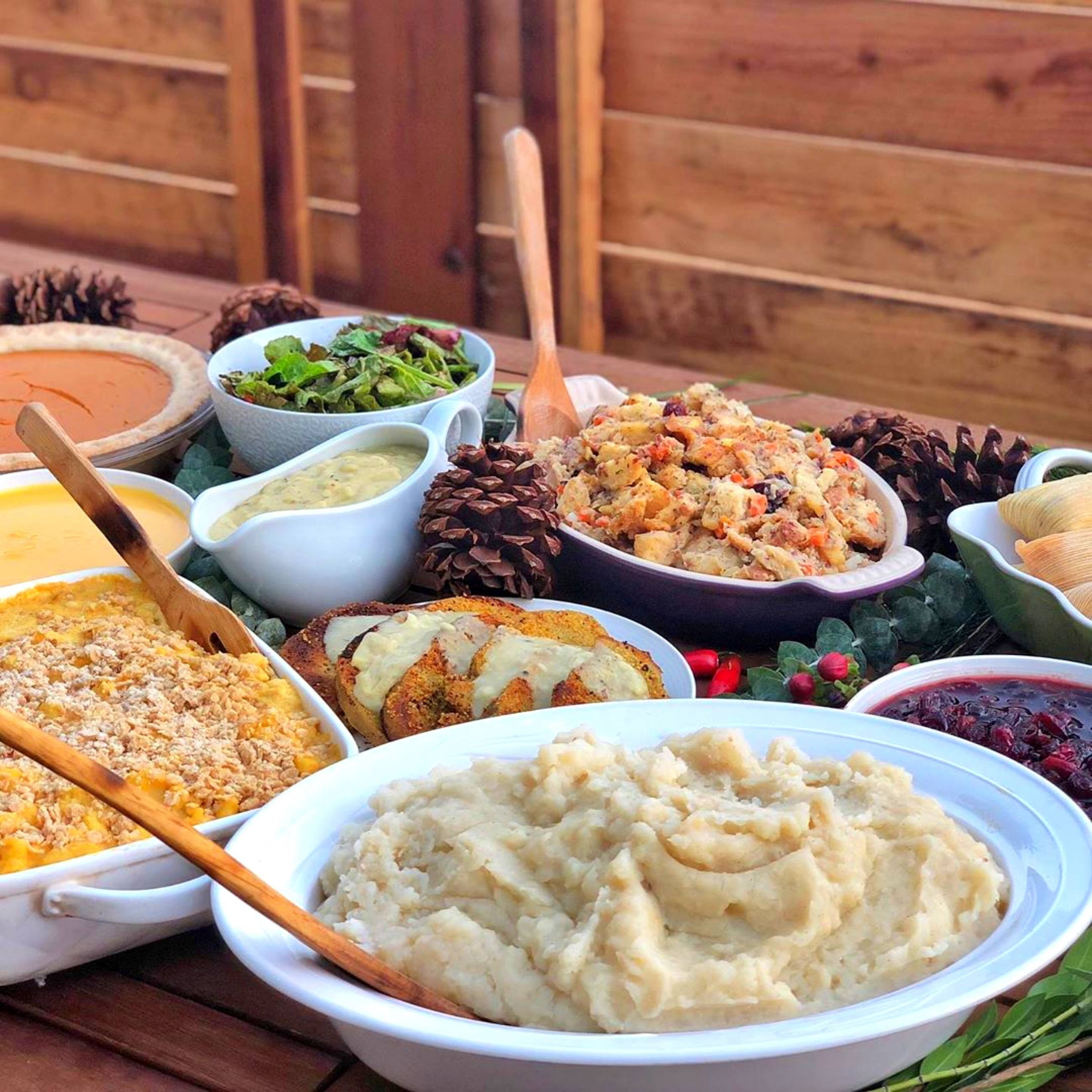 Holiday catering dishes from Sage Vegan Bistro