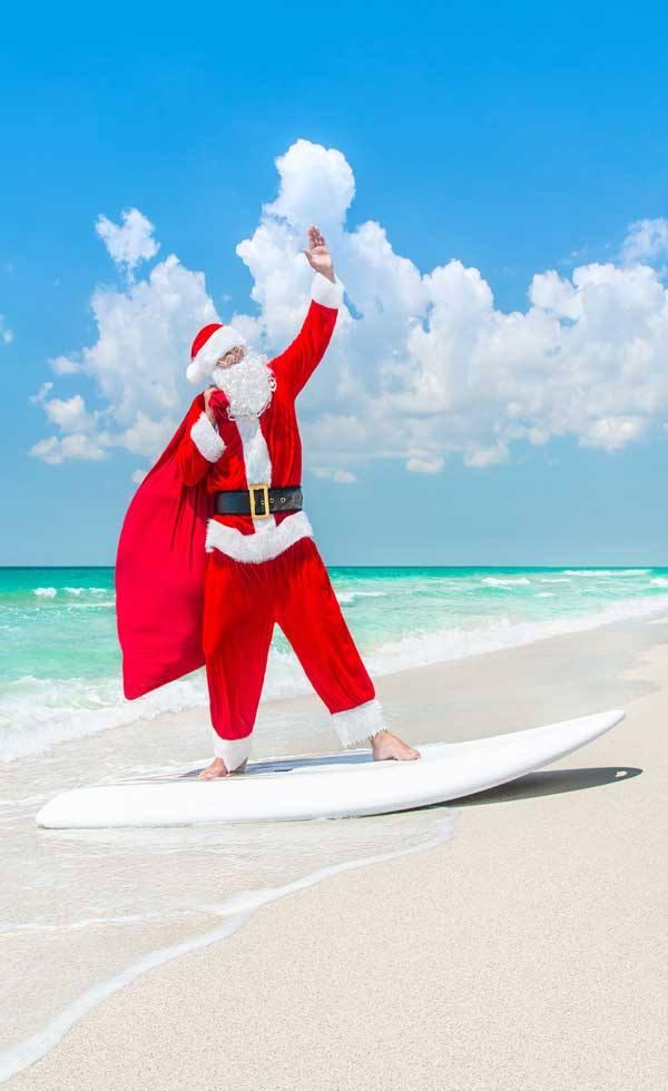 Surfer Santa at the Santa Monica Pier