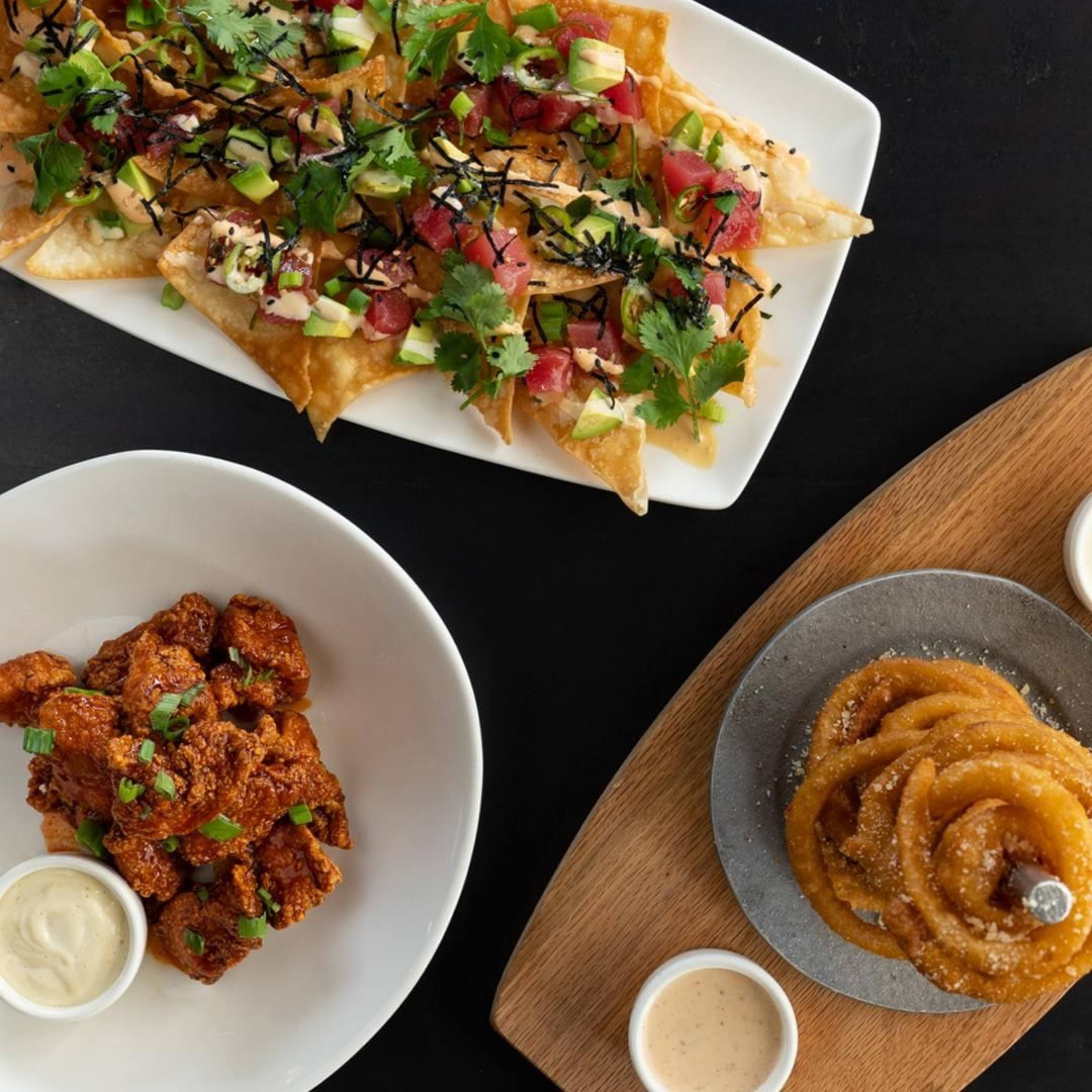 Poke Nachos, Onion Ring Tower and Korean Wings at Yard House