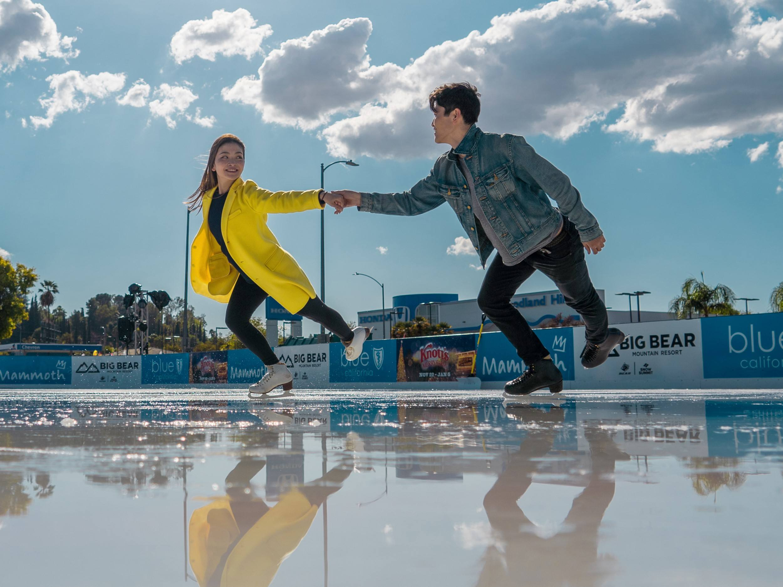 Olympian siblings Alex Shibutani and Maia Shibutani have winter fun under the sun at the Westfield Topanga & The Village.