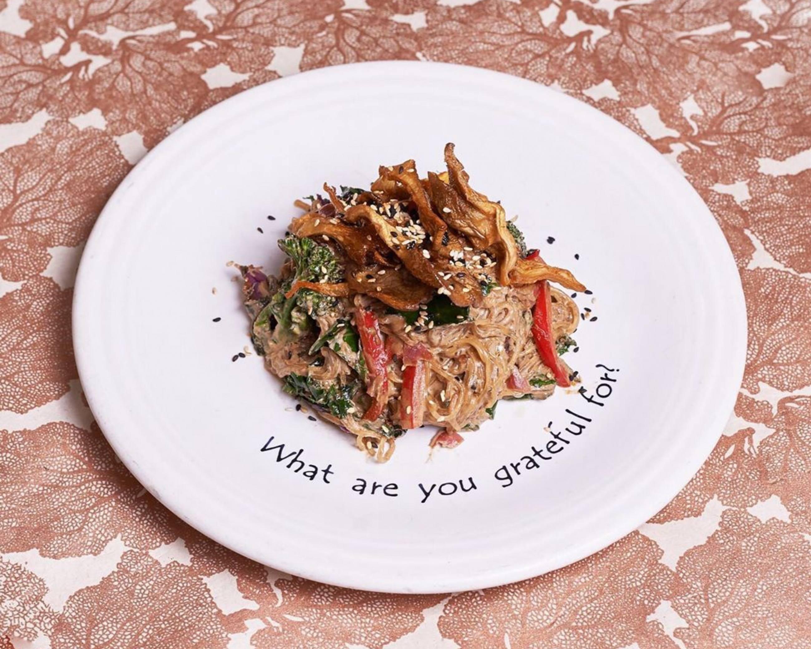 """""""Vivacious"""" (Warm Miso Ginger Kelp Noodles) at Café Gratitude in Larchmont"""