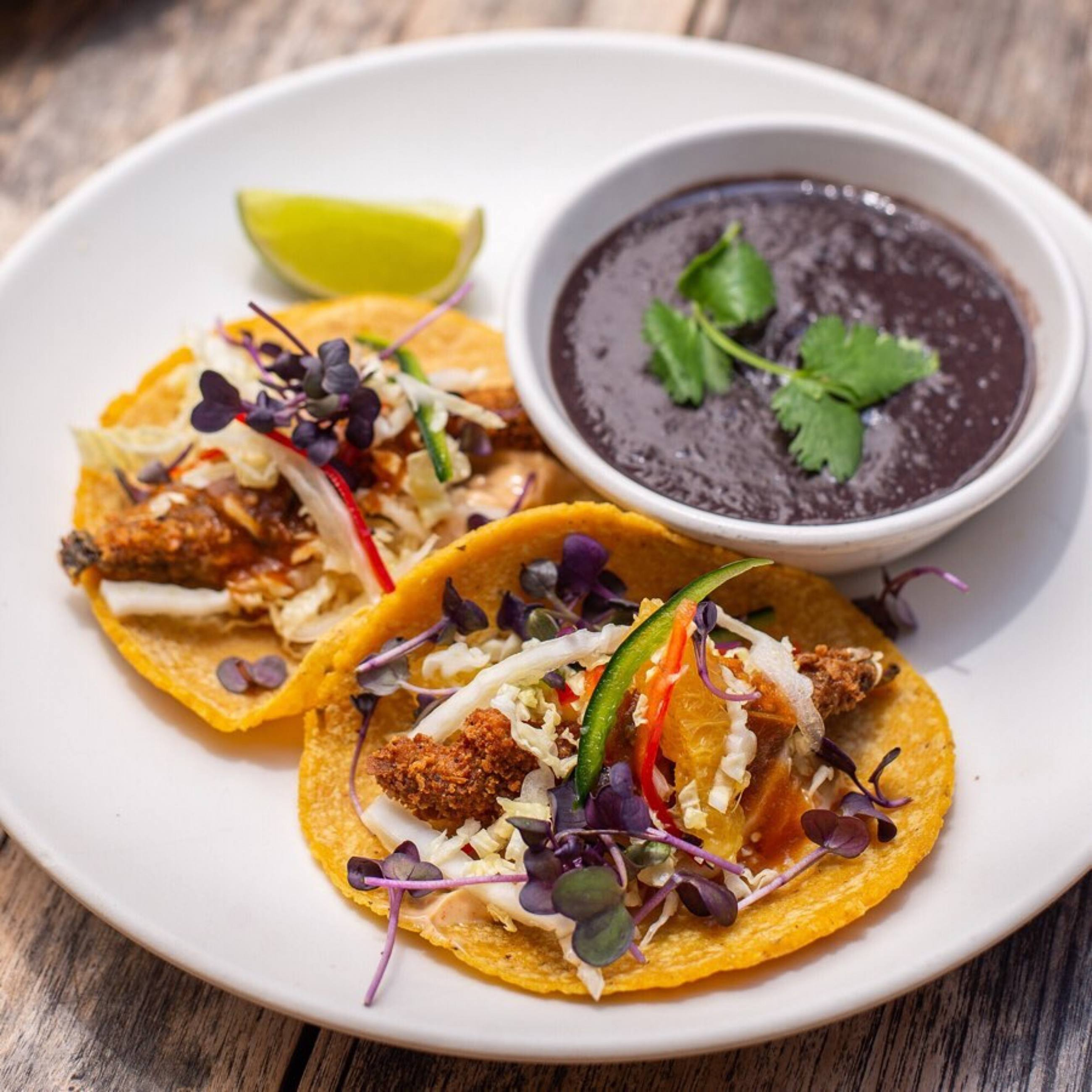 Beer-Battered Portobello Tacos at Gracias Madre in West Hollywood