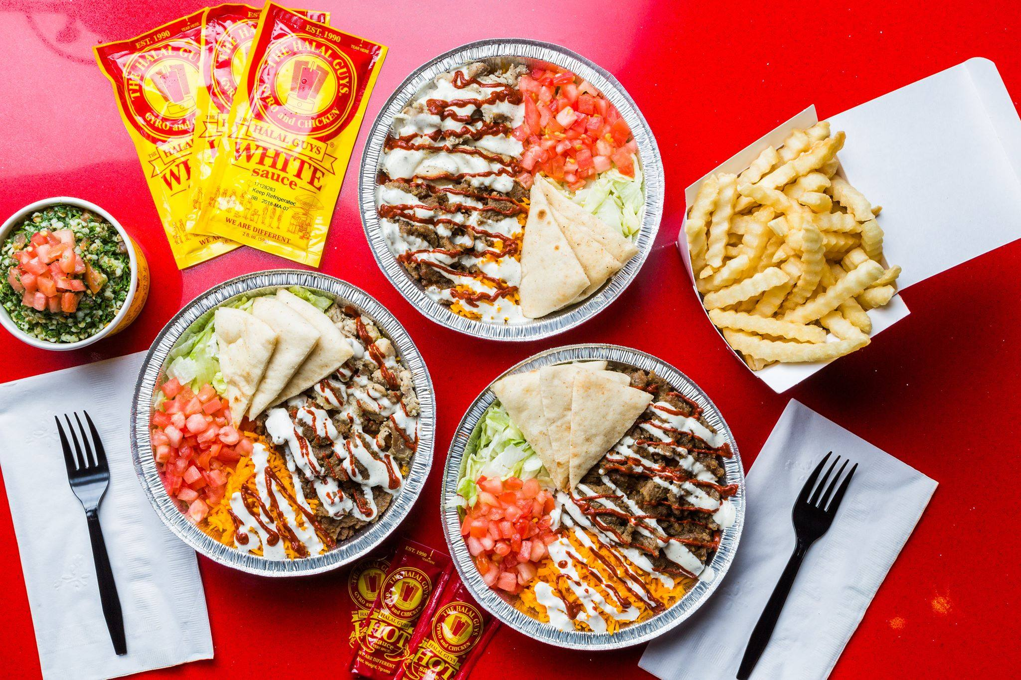Dishes at Halal Guys in Los Angeles
