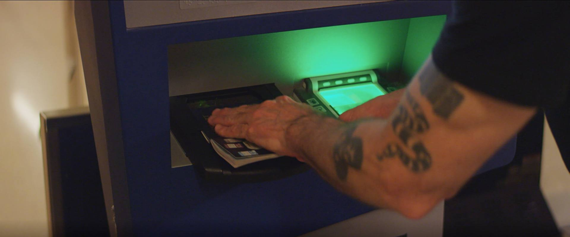 Henry Rollins uses the Global Entry Kiosk at Tom Bradley International in LAX