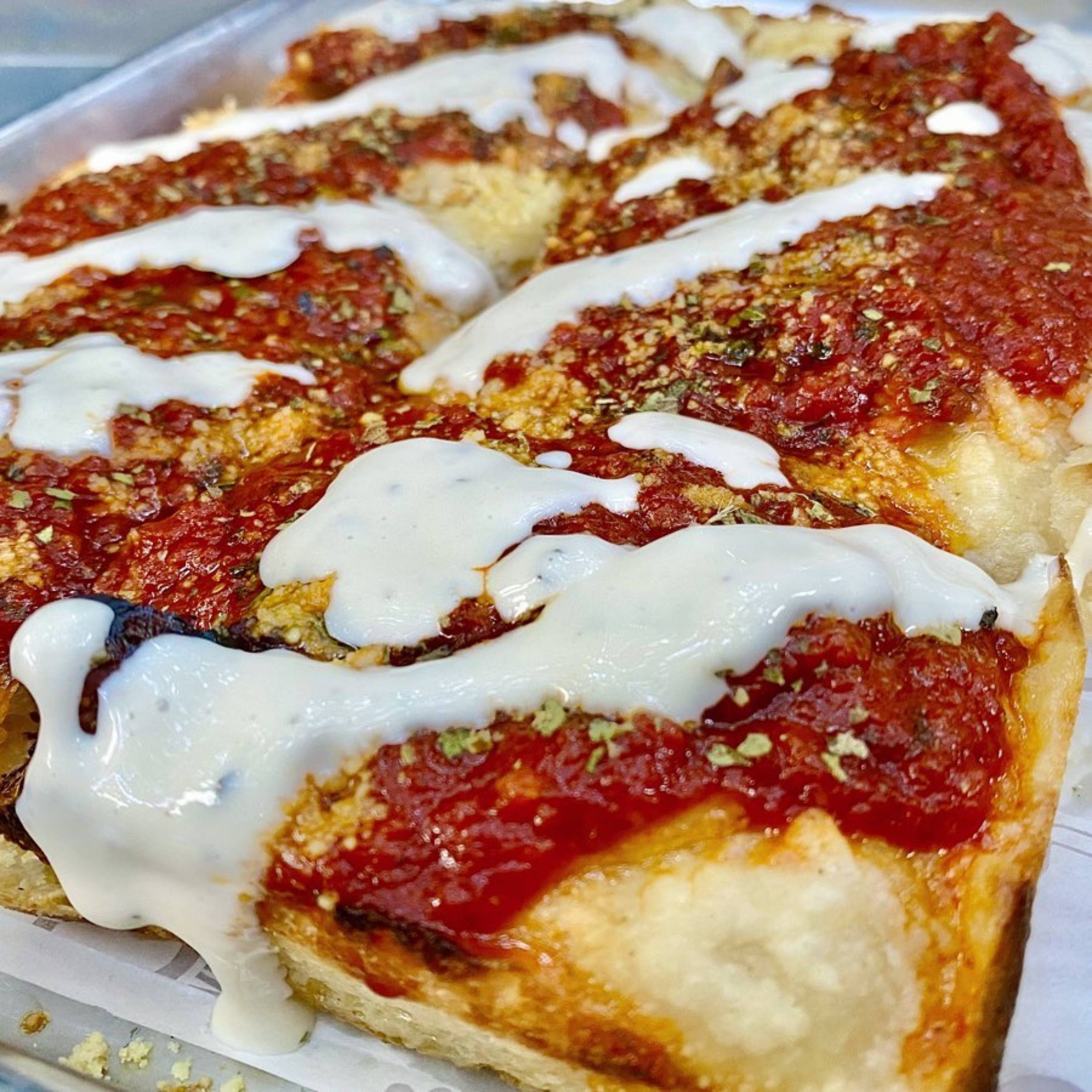 Wood-fired Detroit-style pizza at Nic's On Beverly