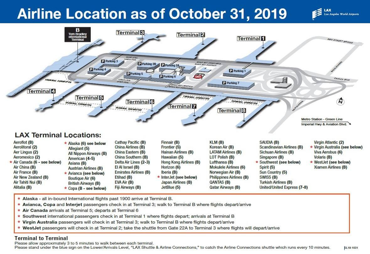 LAX Airline Location Map October 2019