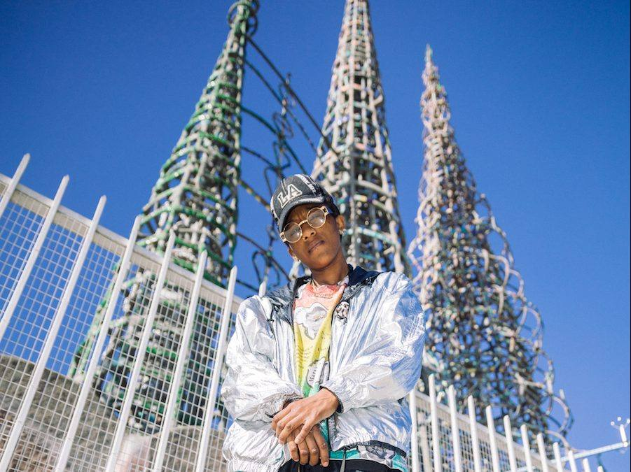 Artist Lauren Halsey photographed at the Watts Towers in Los Angeles