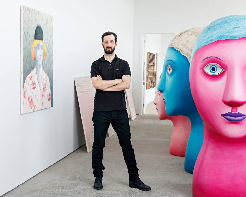 Artist Nicolas Party with sculptures and painting
