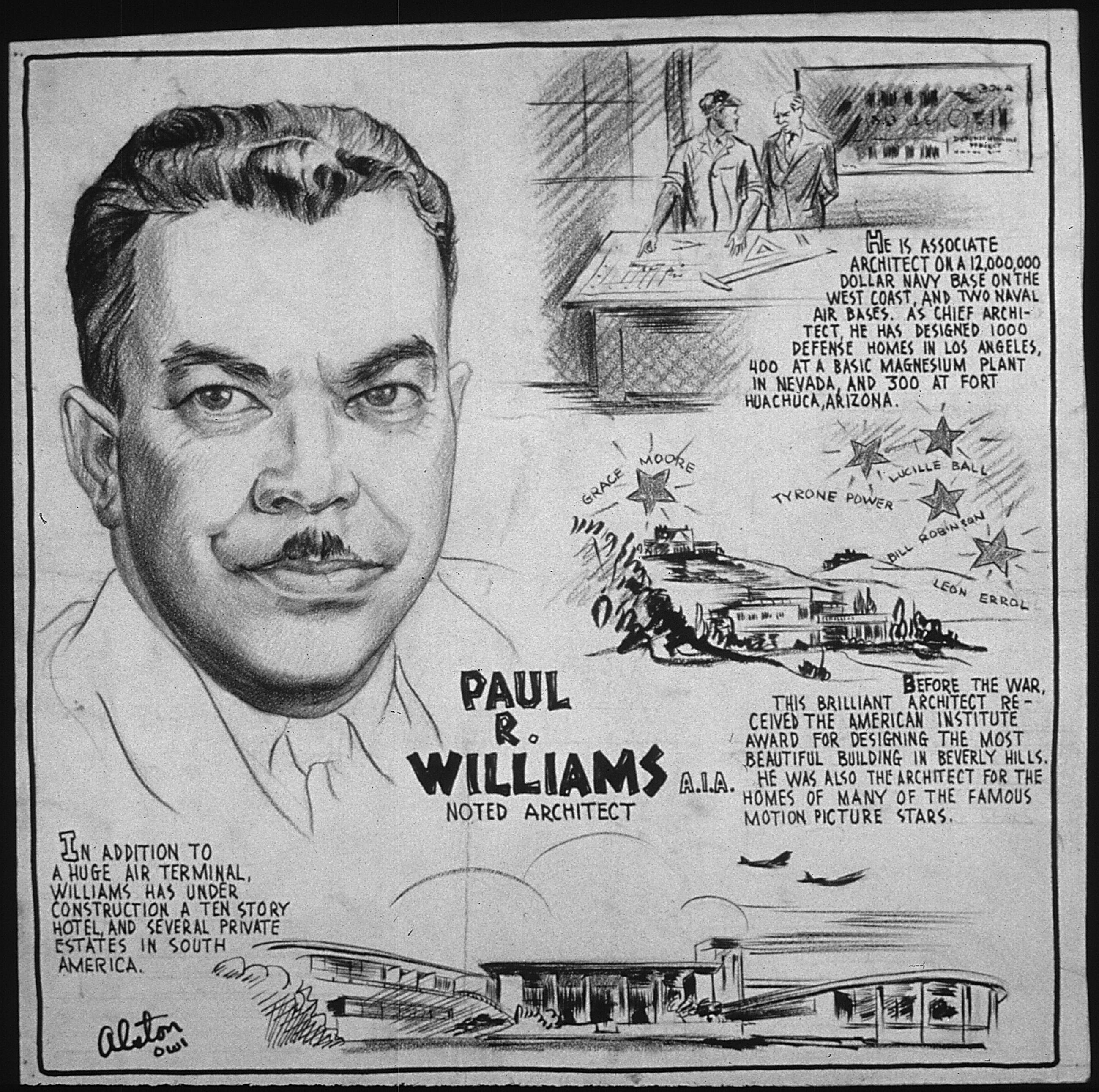 """""""PAUL R. WILLIAMS, A.I.A. - NOTED ARCHITECT"""" illustration"""