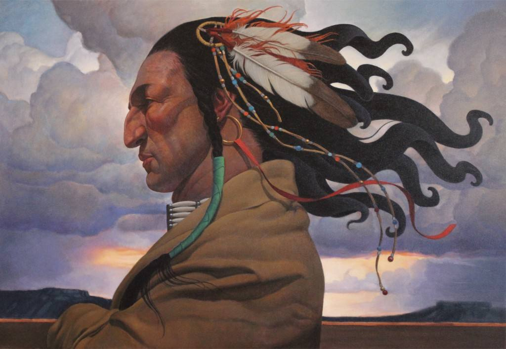 """Mighty Wind"" painting by Thomas Blackshear II at the Autry Museum of the American West"