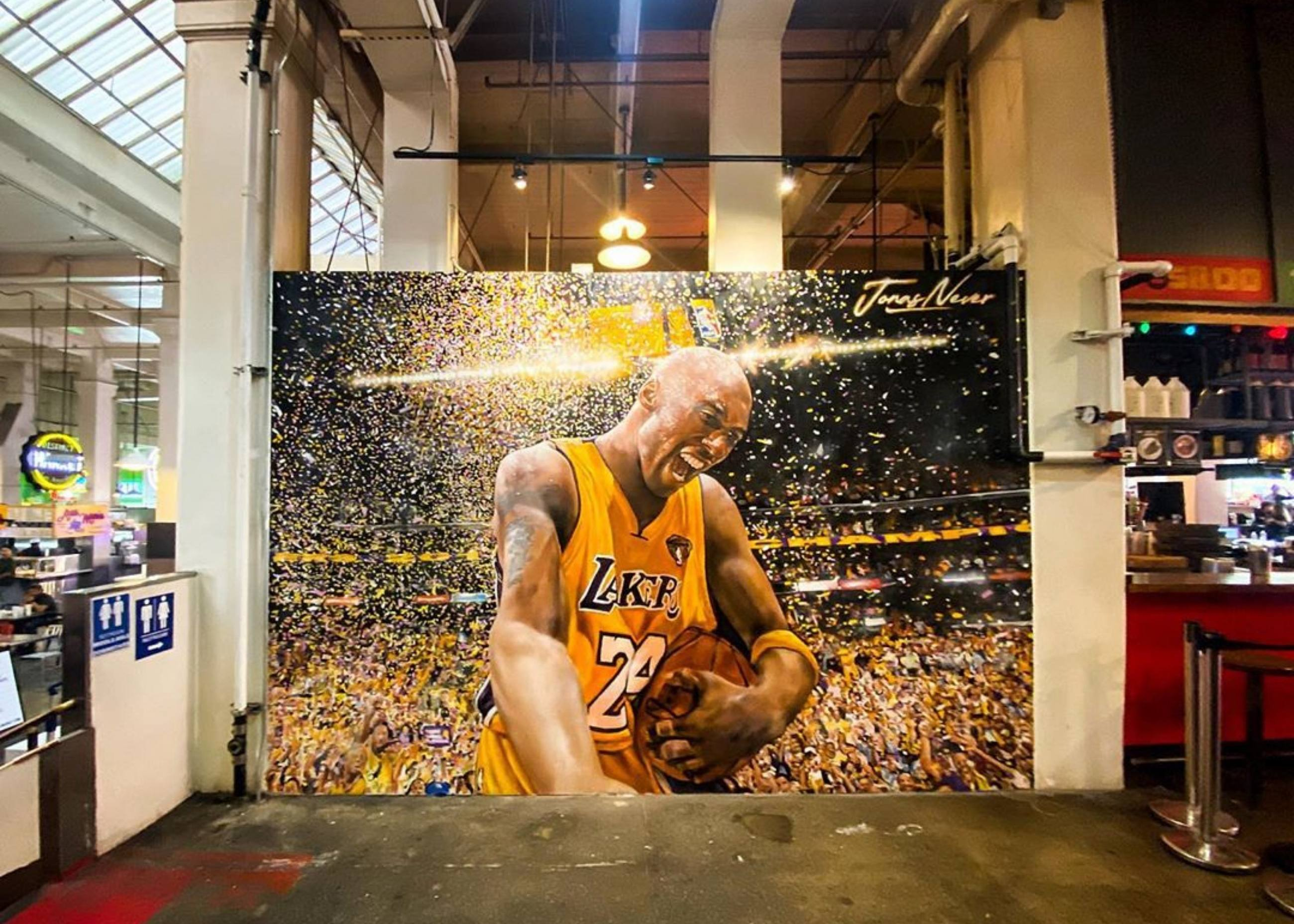 Kobe Bryant mural by Jonas Never at Grand Central Market in Downtown LA