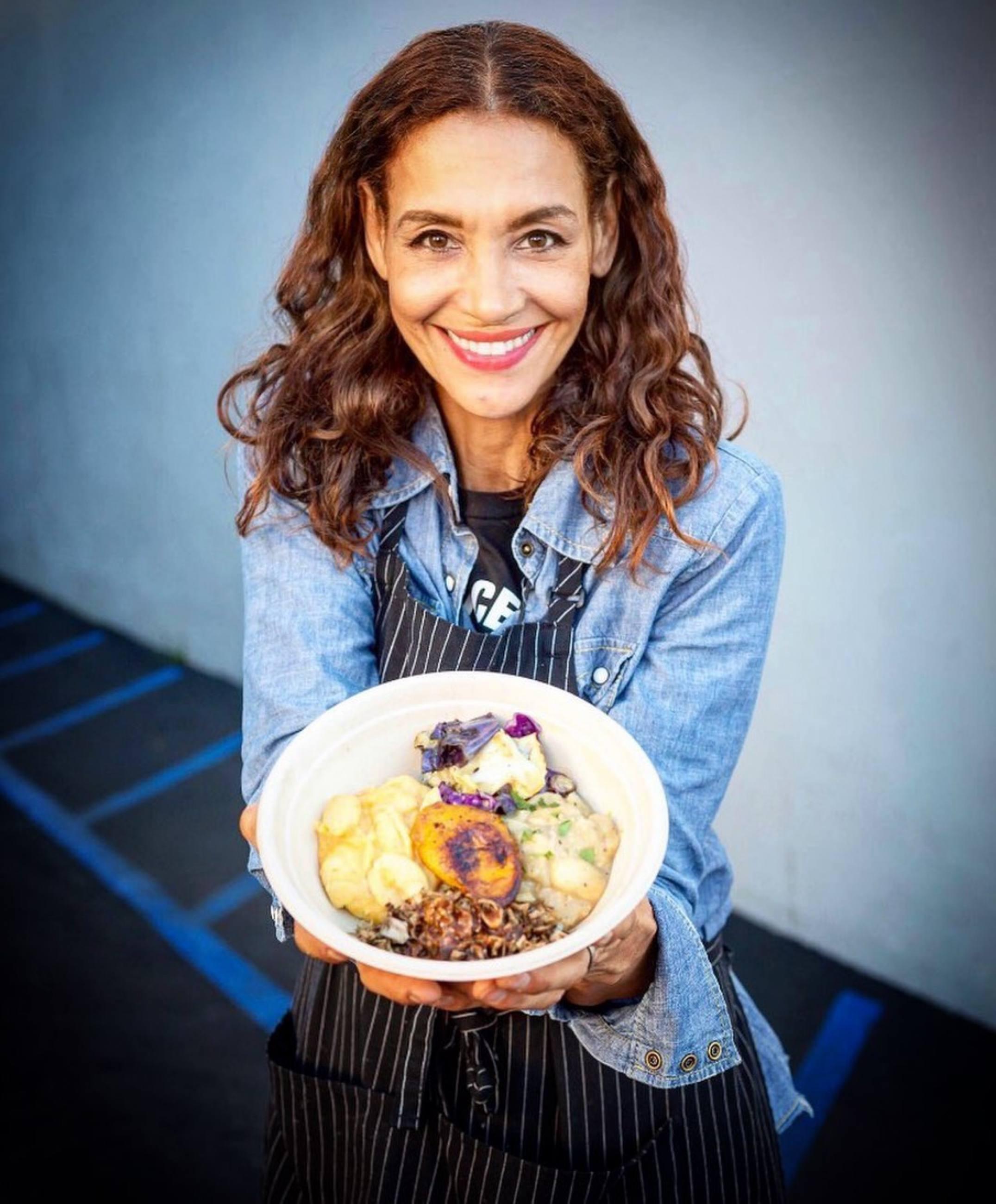 Angela Means with her Jerk Jackfruit Bowl at Jackfruit Cafe